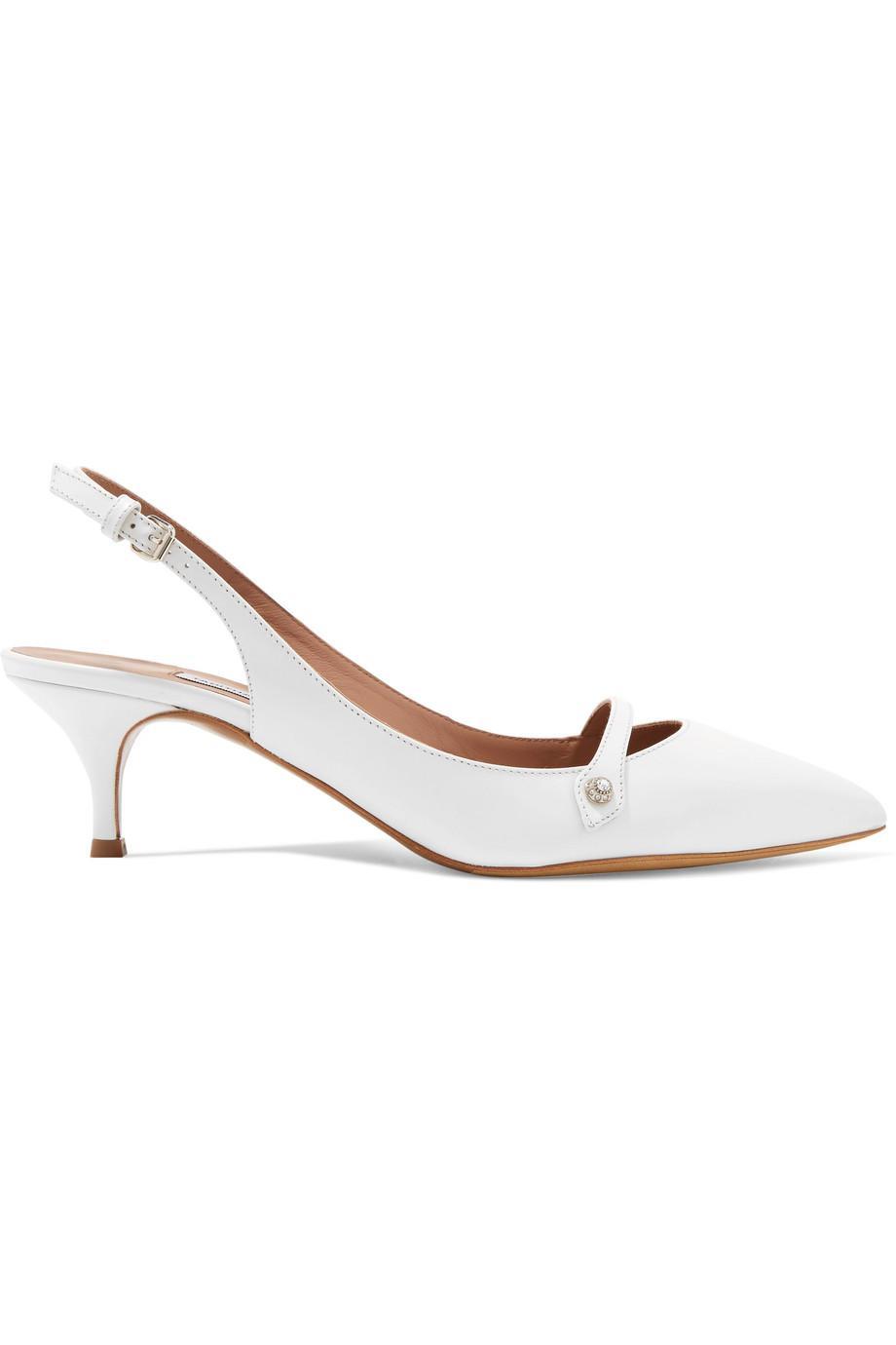 Layton Crystal-embellished Leather Slingback Pumps - White Tabitha Simmons 2uHhnqd