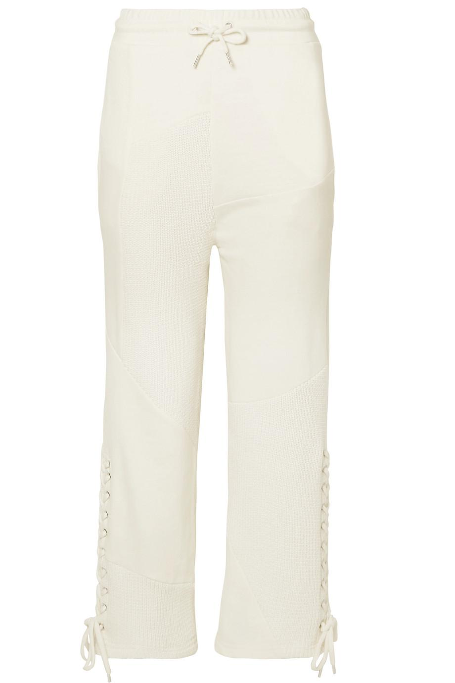 Lace-up Knit-paneled Cotton Track Pants - Cream Alexander McQueen R7l0A