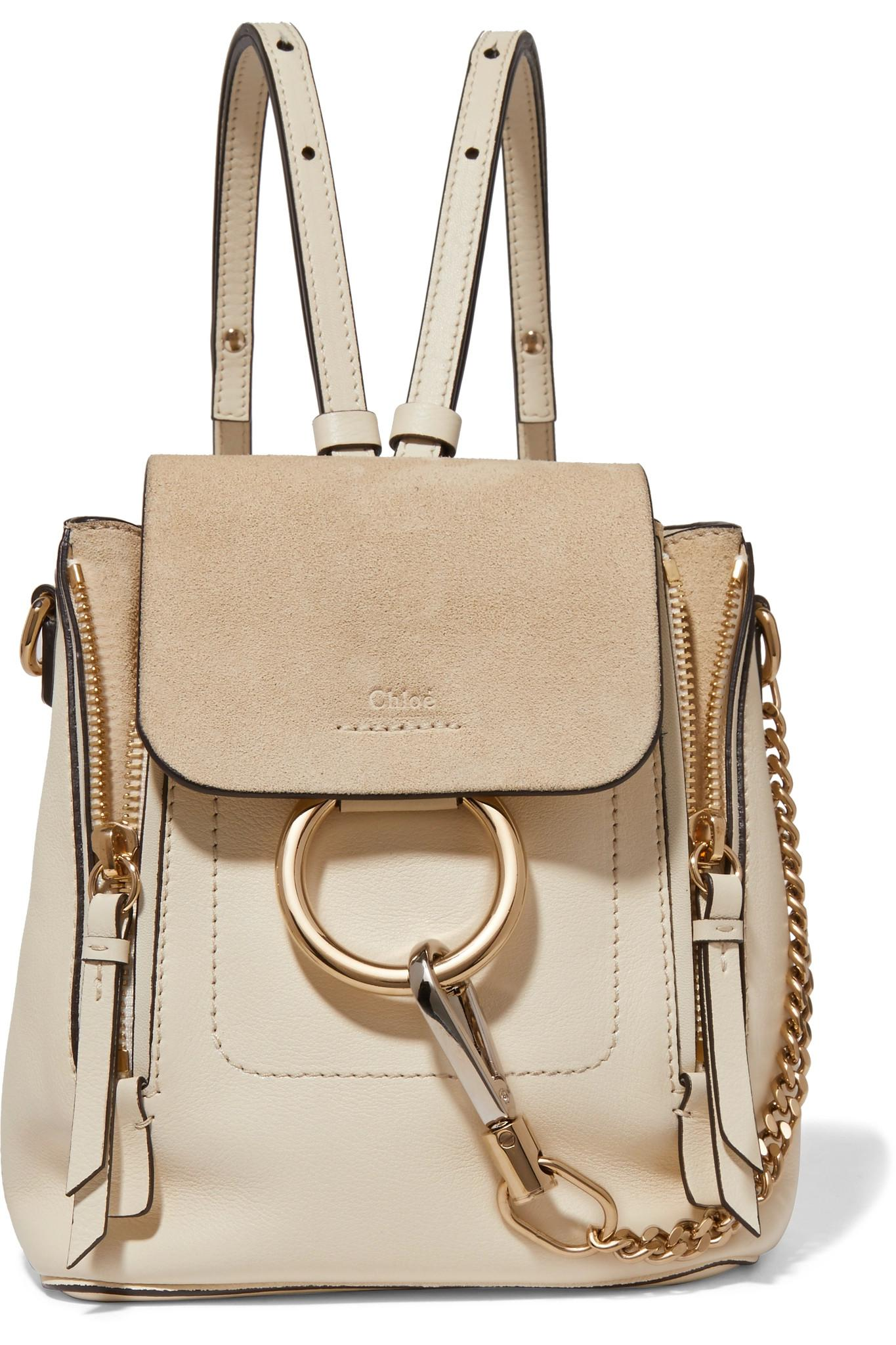 lyst chlo faye mini leather and suede backpack in white. Black Bedroom Furniture Sets. Home Design Ideas