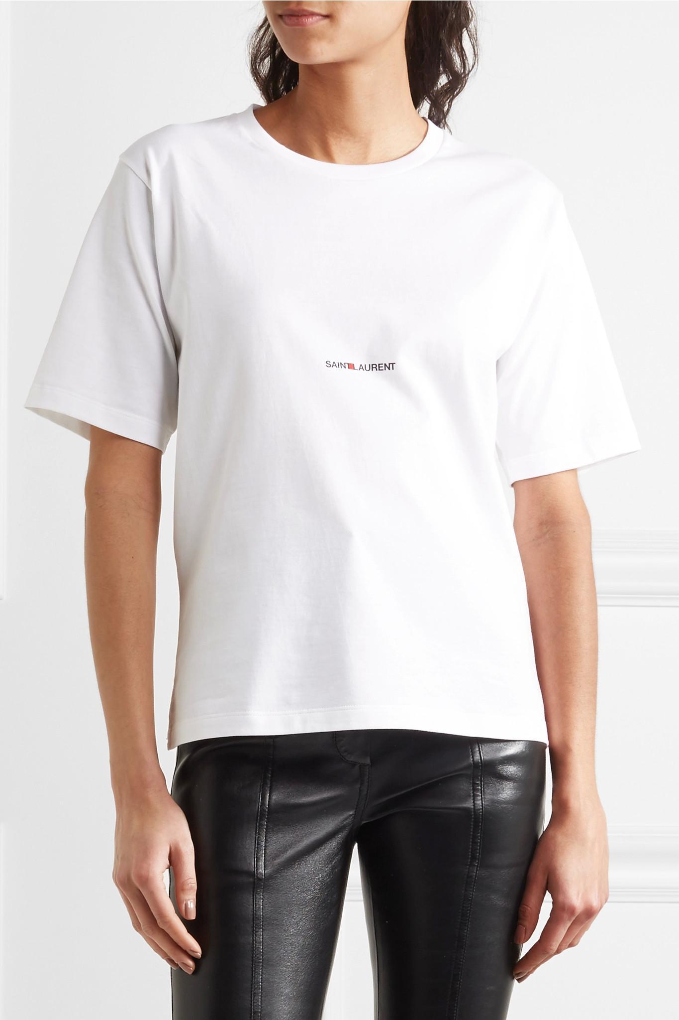 Saint laurent printed cotton jersey t shirt in white lyst for Saint laurent shirt womens