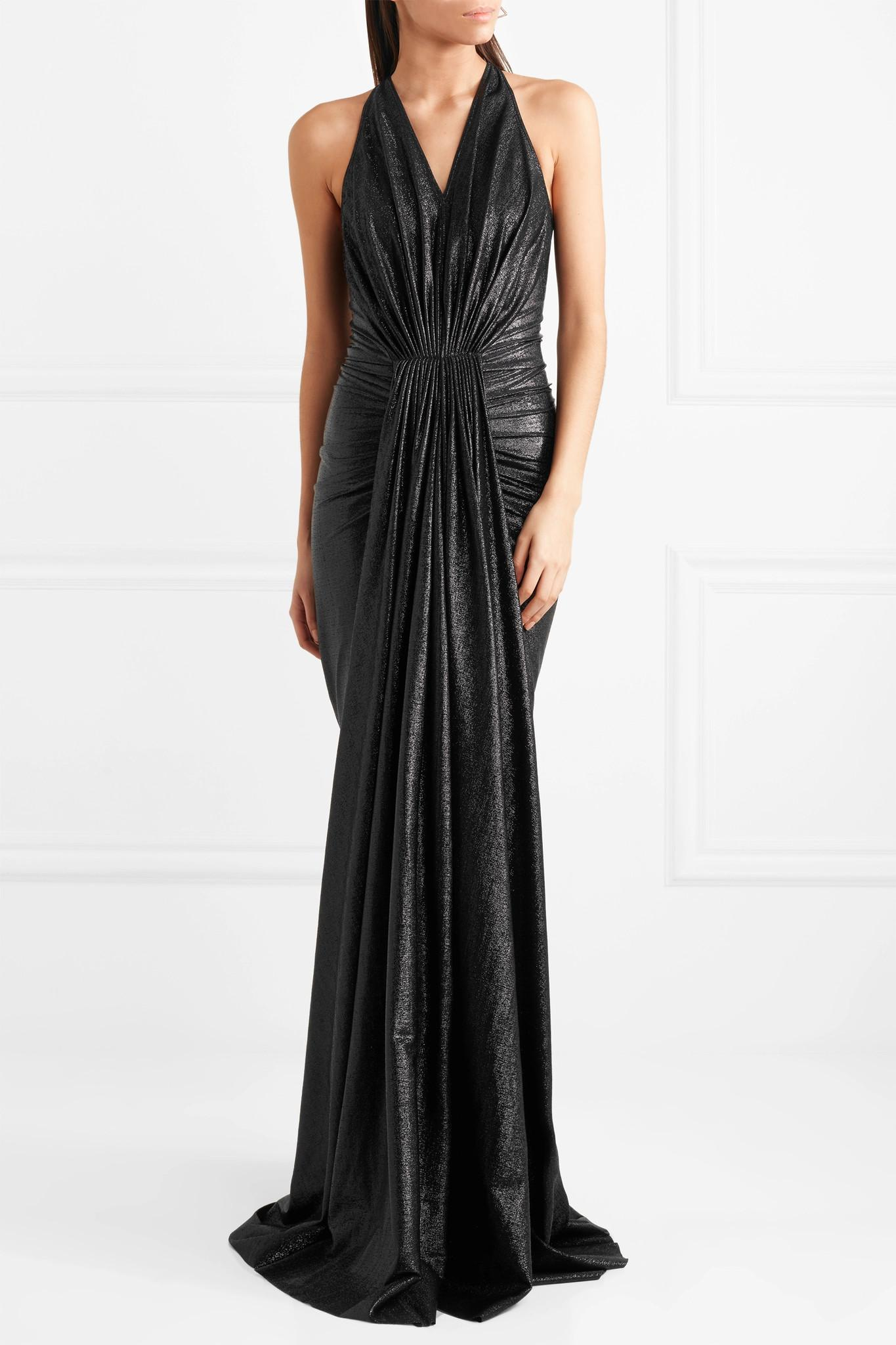 f735142da2bf Rick Owens Gathered Lamé Gown in Black - Lyst