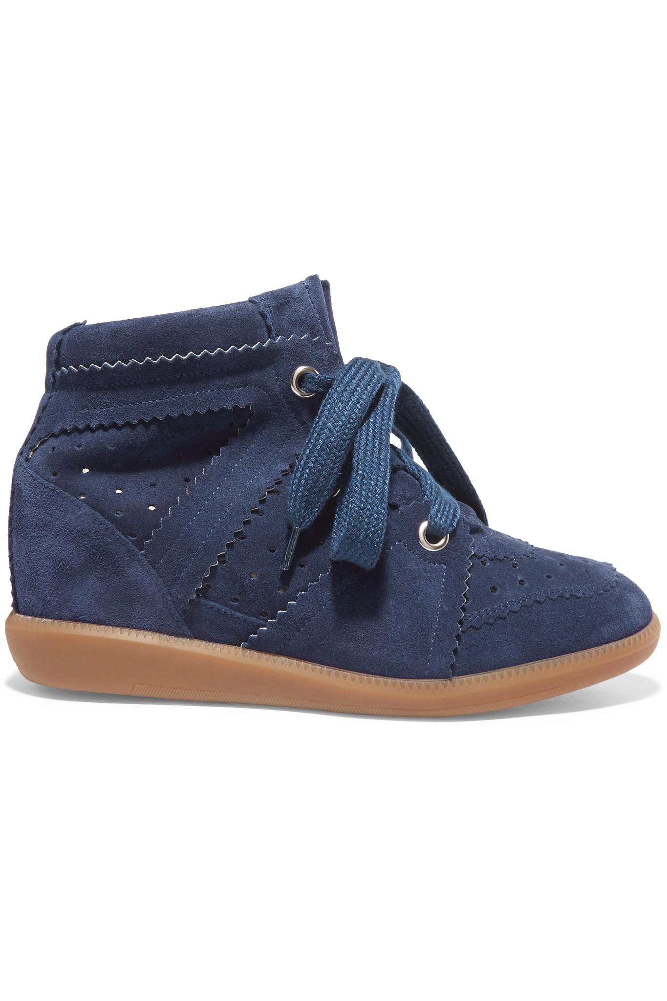 isabel marant toile bobby suede wedge sneakers in blue. Black Bedroom Furniture Sets. Home Design Ideas