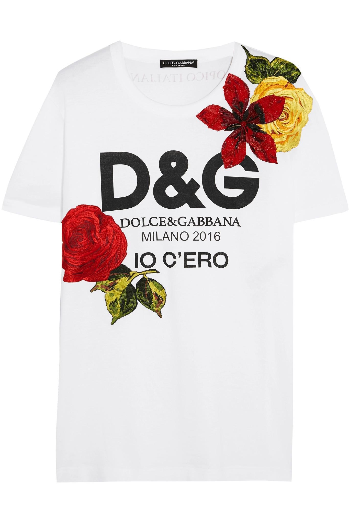 Dolce gabbana embellished printed cotton jersey t shirt for Dolce gabbana t shirt women