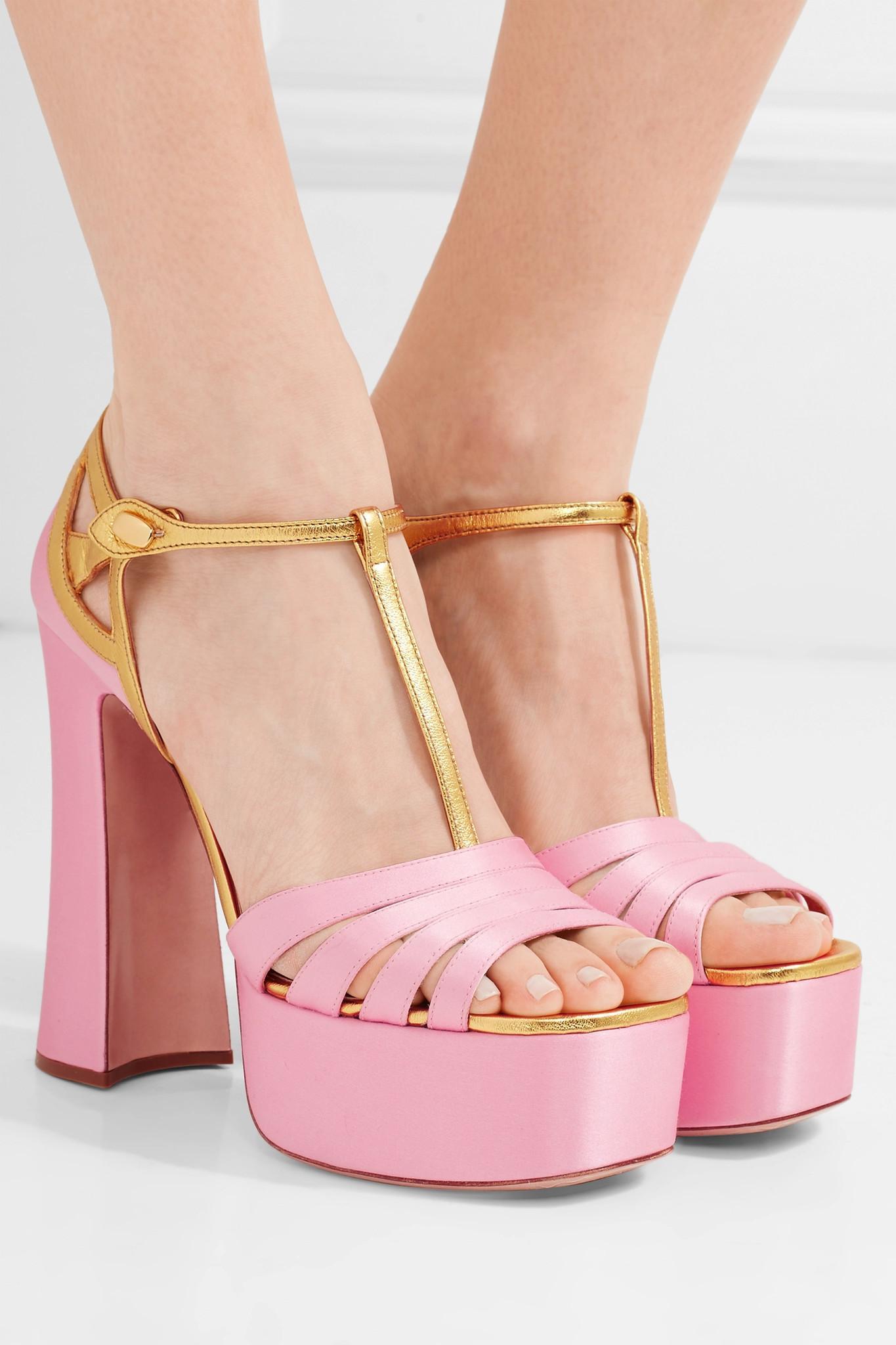 Miu Miu Leather Trimmed Satin Platform Sandals In Pink Lyst