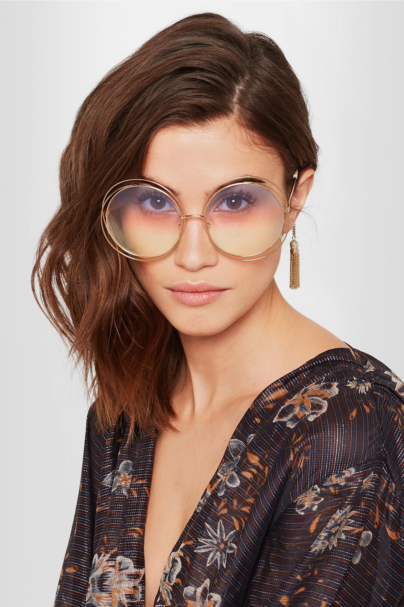 7927746d2 Chloé Carlina Round-frame Gold-tone Sunglasses in Metallic - Lyst
