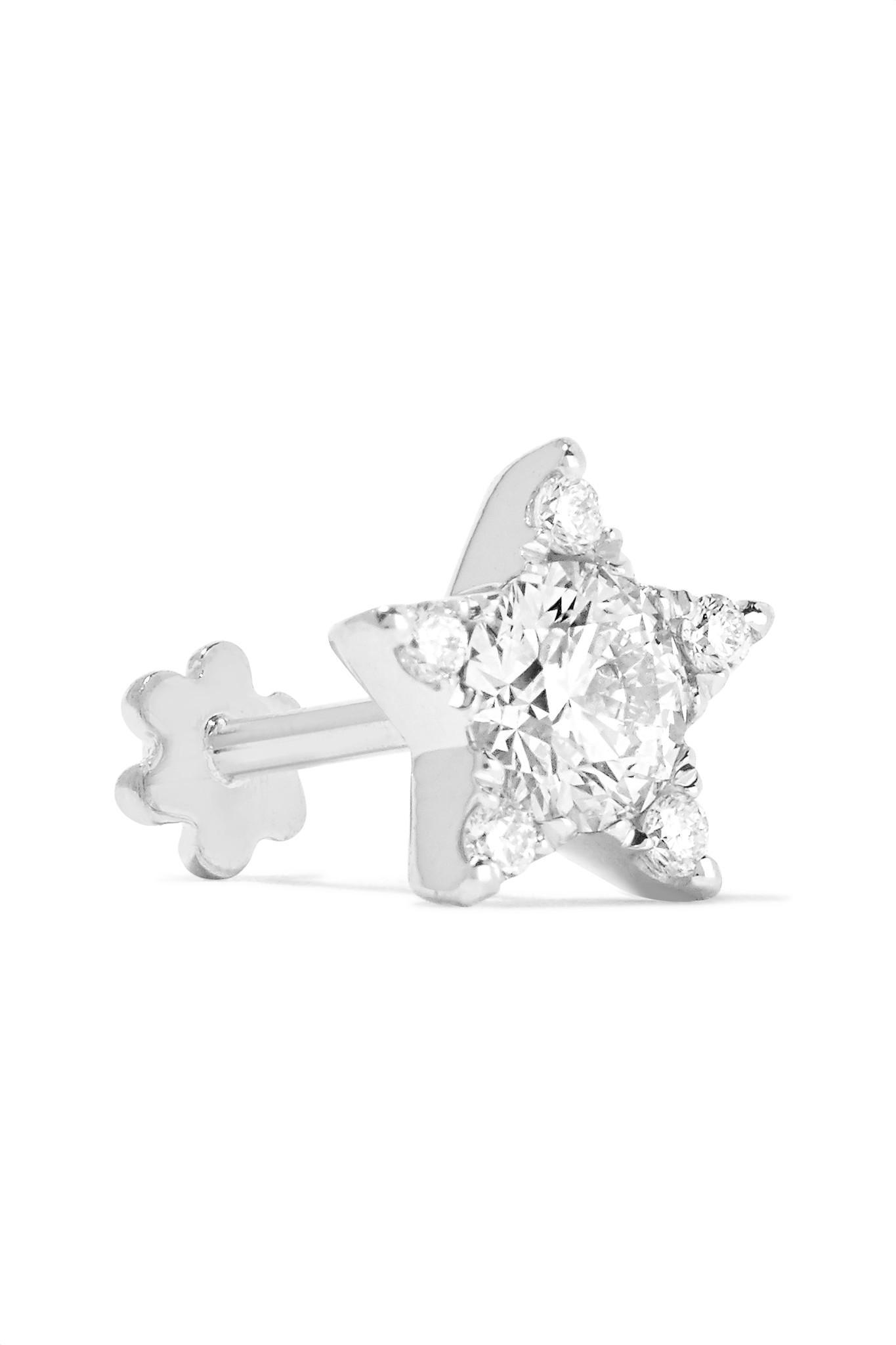 lyst maria tash 18 karat white gold diamond earring in white Gold Diamond Earrings view fullscreen