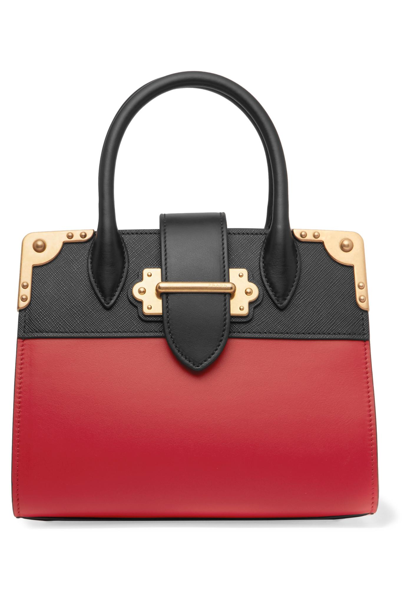 63dd808ac1521 Lyst - Prada Cahier Small Two-Tone Leather Tote in Red