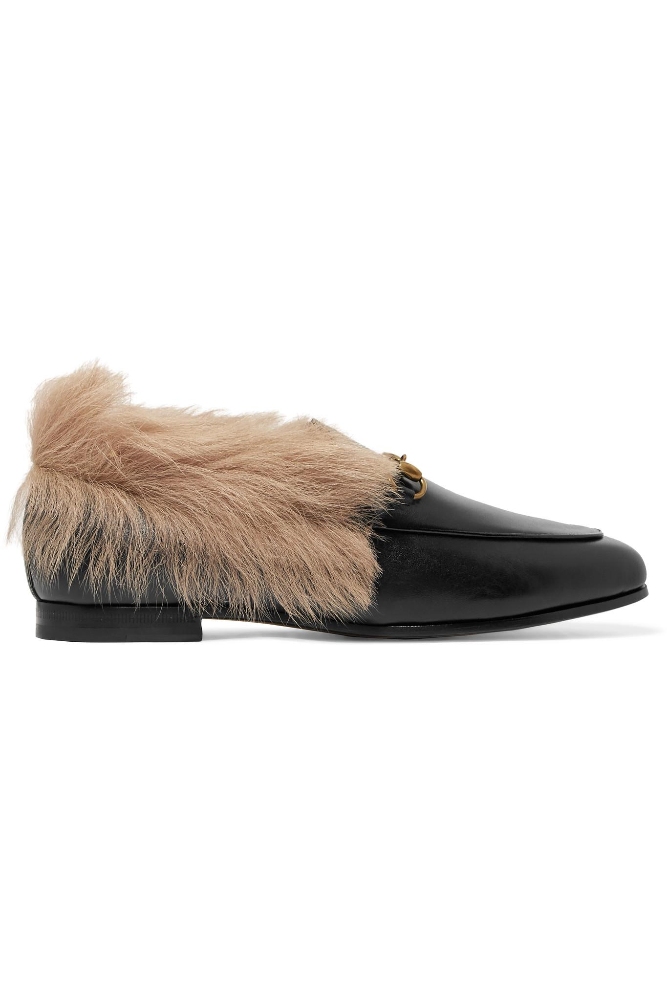 4993357e981 Gucci. Women s Black Jordaan Horsebit-detailed Shearling-lined Leather  Loafers