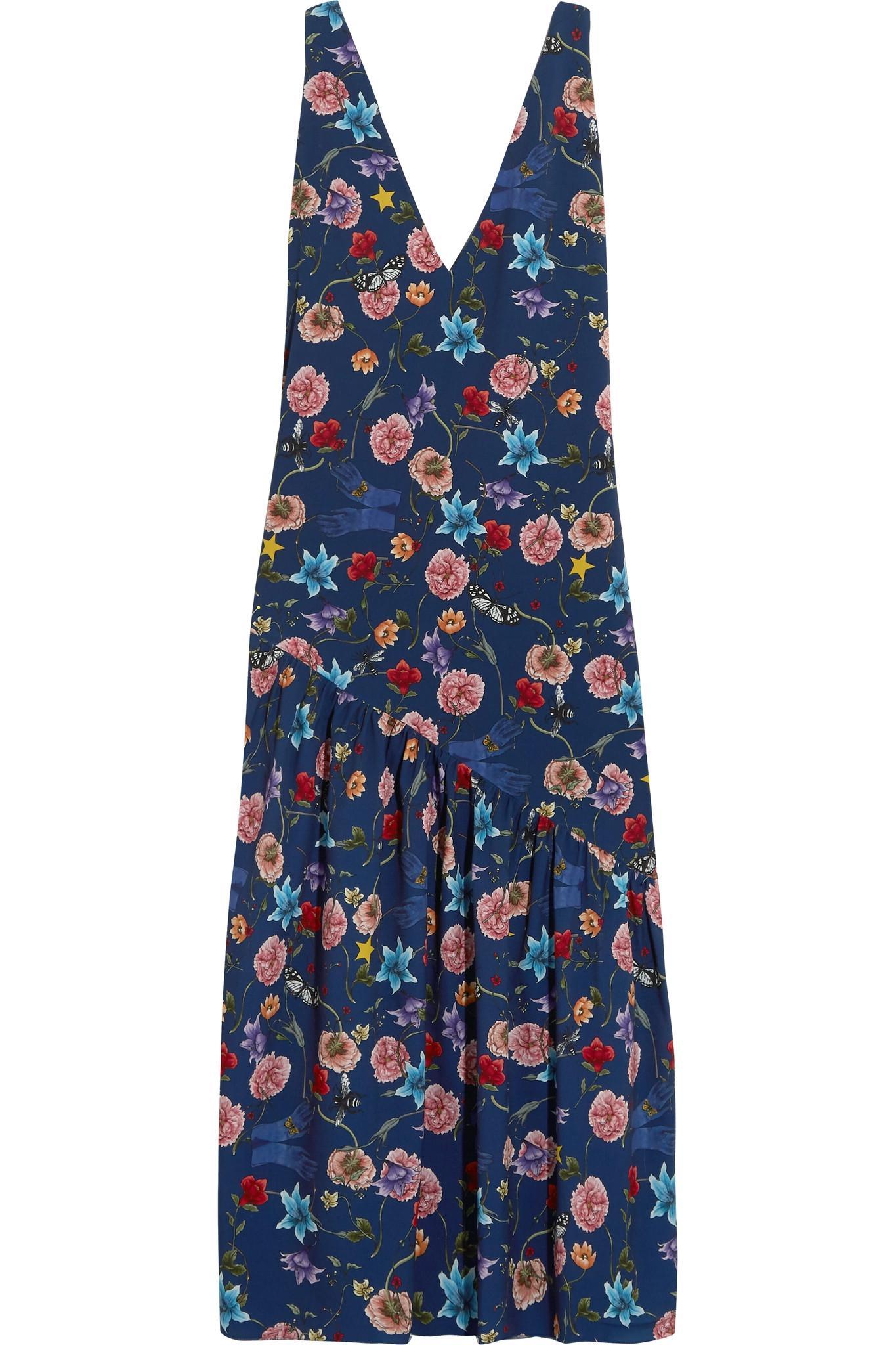 Lola Floral-print Crepe De Chine Midi Dress - Navy Borgo De Nor 100% Original Eastbay Online XxI8g8