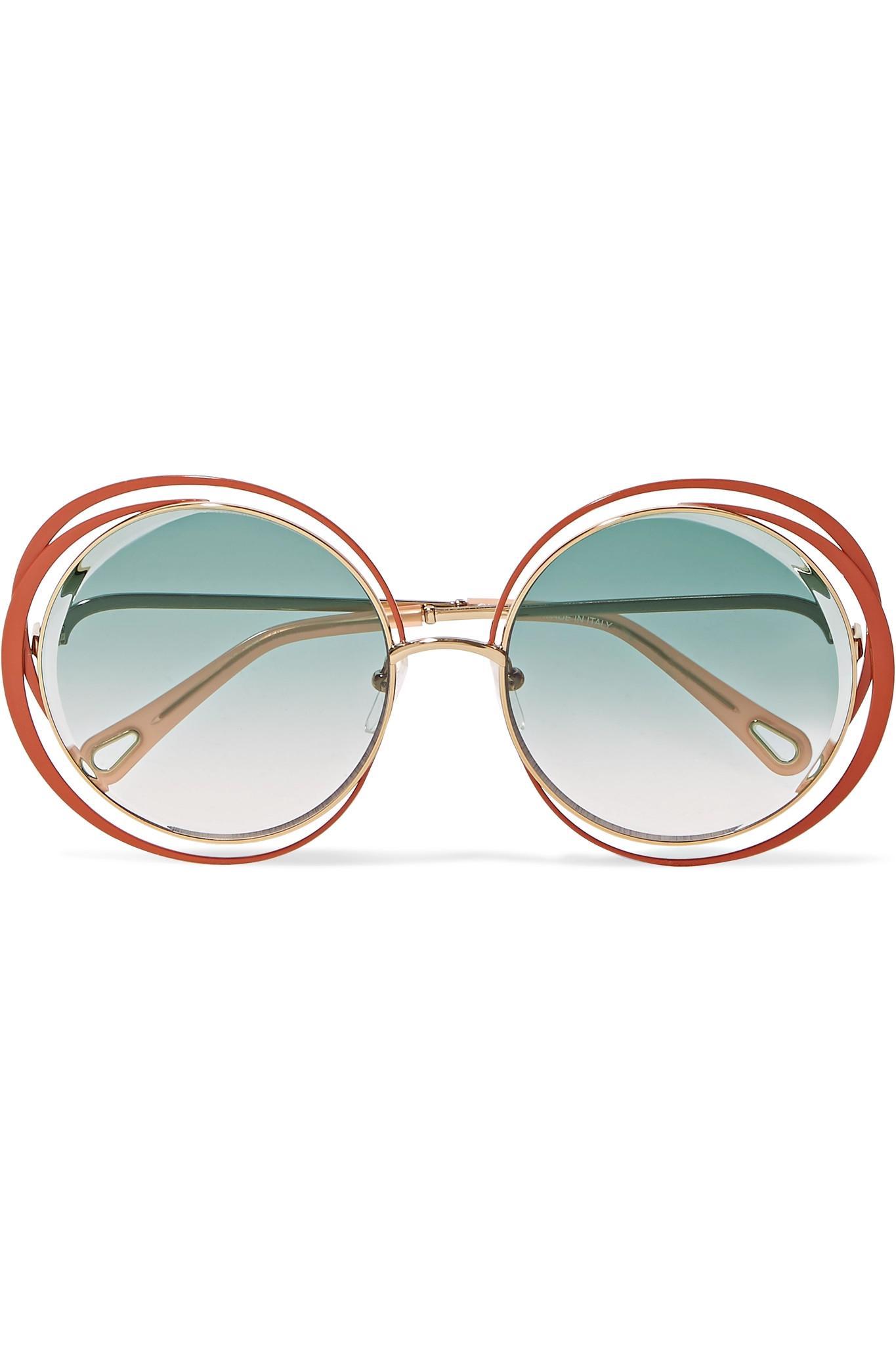 2f96916d01e8 Lyst - Chloé Carlina Oversized Round-frame Gold-tone Sunglasses in Blue