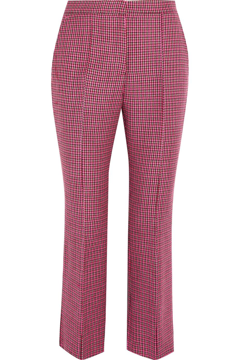 Cropped Houndstooth Wool Flared Pants - Pink Msgm cSMzp