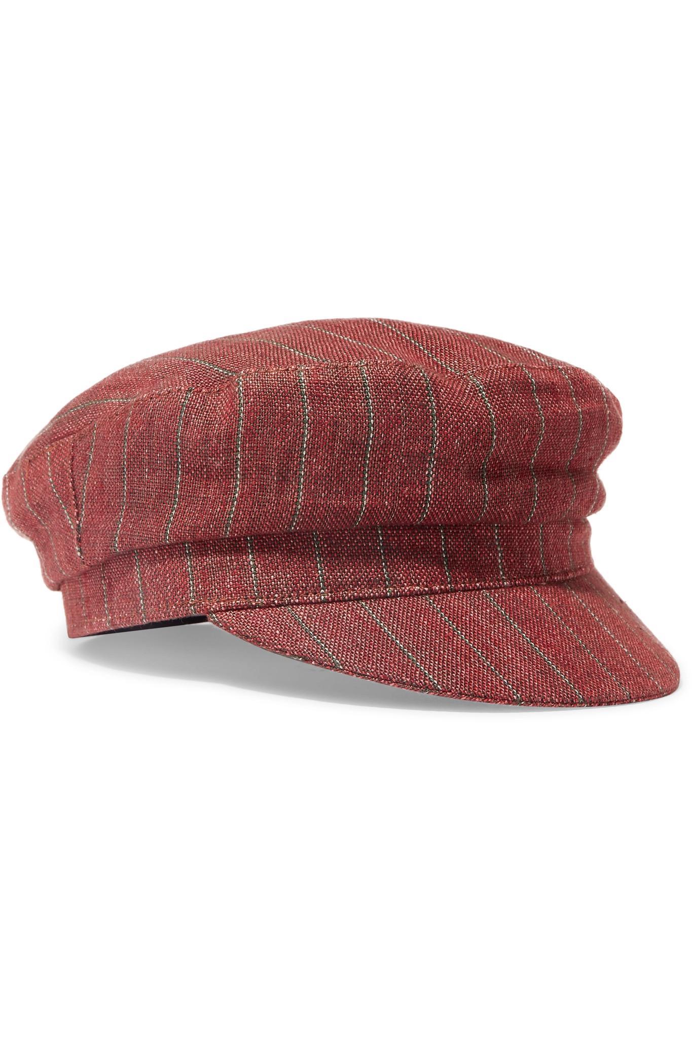 ca598596179 Lyst - Isabel Marant Evie Striped Linen Cap in Orange