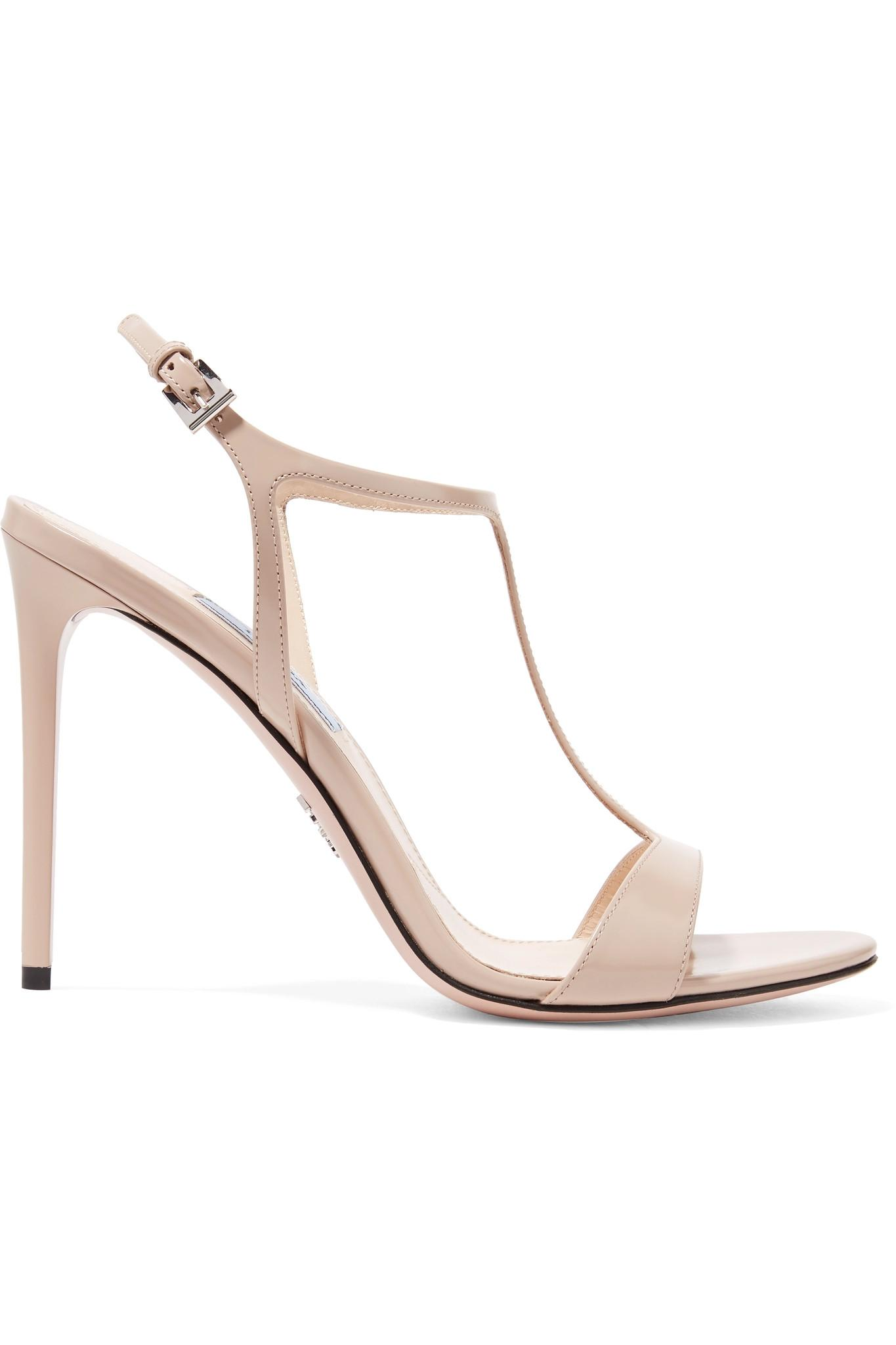 2a3a1f15ab1 Prada 105 Glossed-leather Sandals in Natural - Lyst
