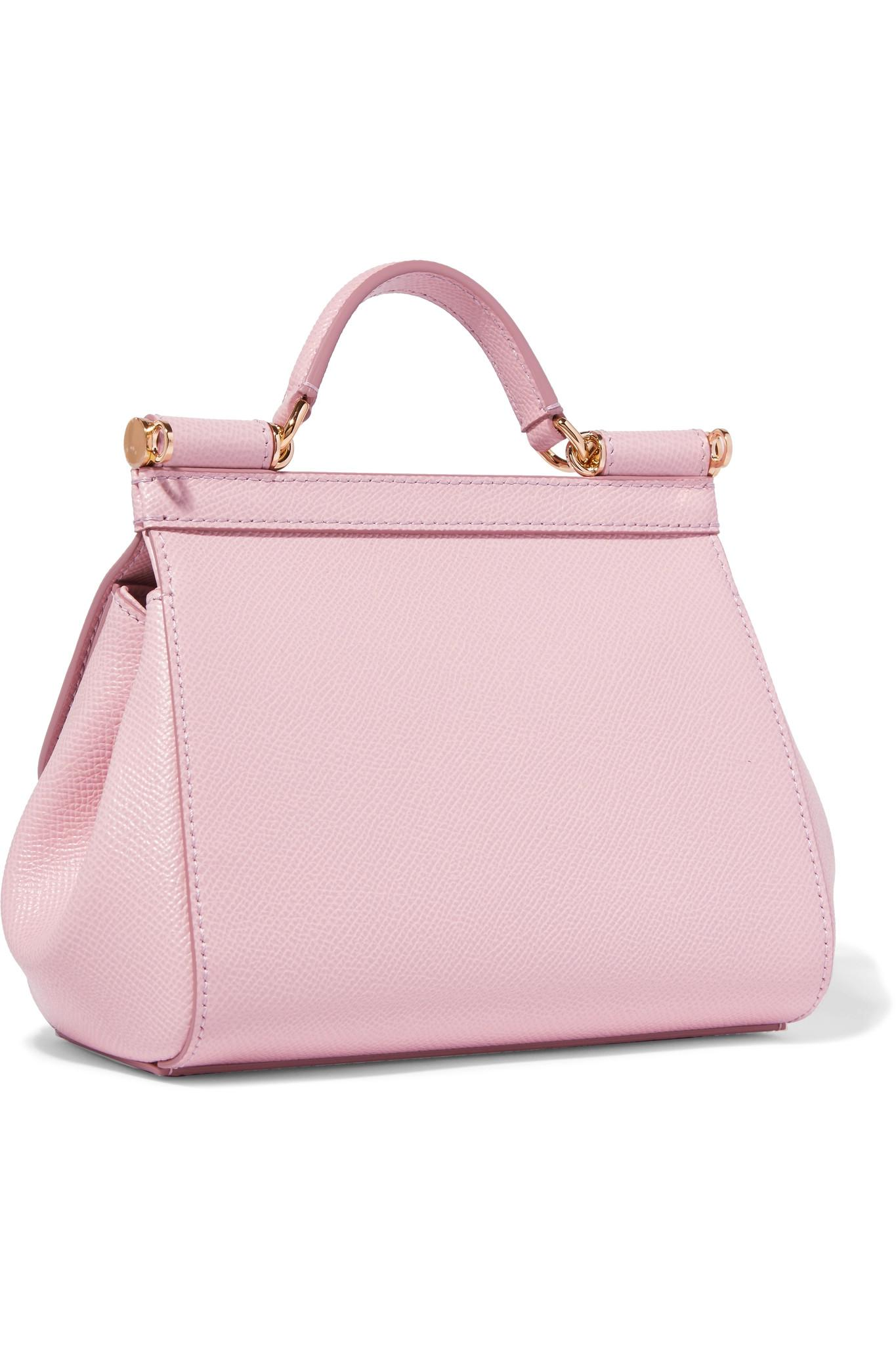 Lyst - Dolce   Gabbana Sicily Micro Textured-leather Tote in Pink ae1a66bd7fe43
