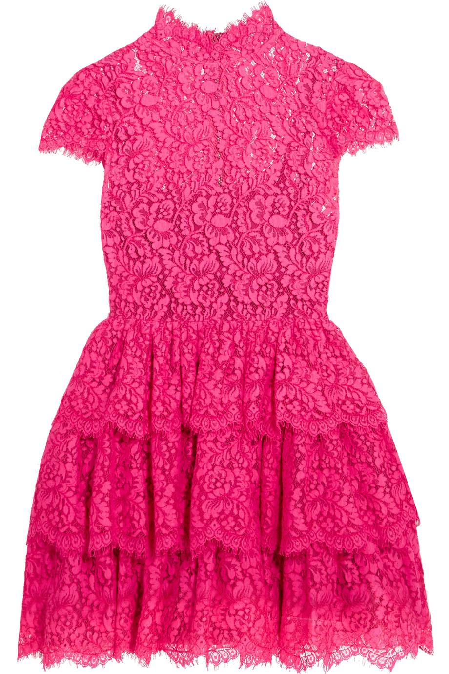 Ruffled Cotton-blend Corded Lace Mini Dress - Pink Alice & Olivia Xg5Sajy