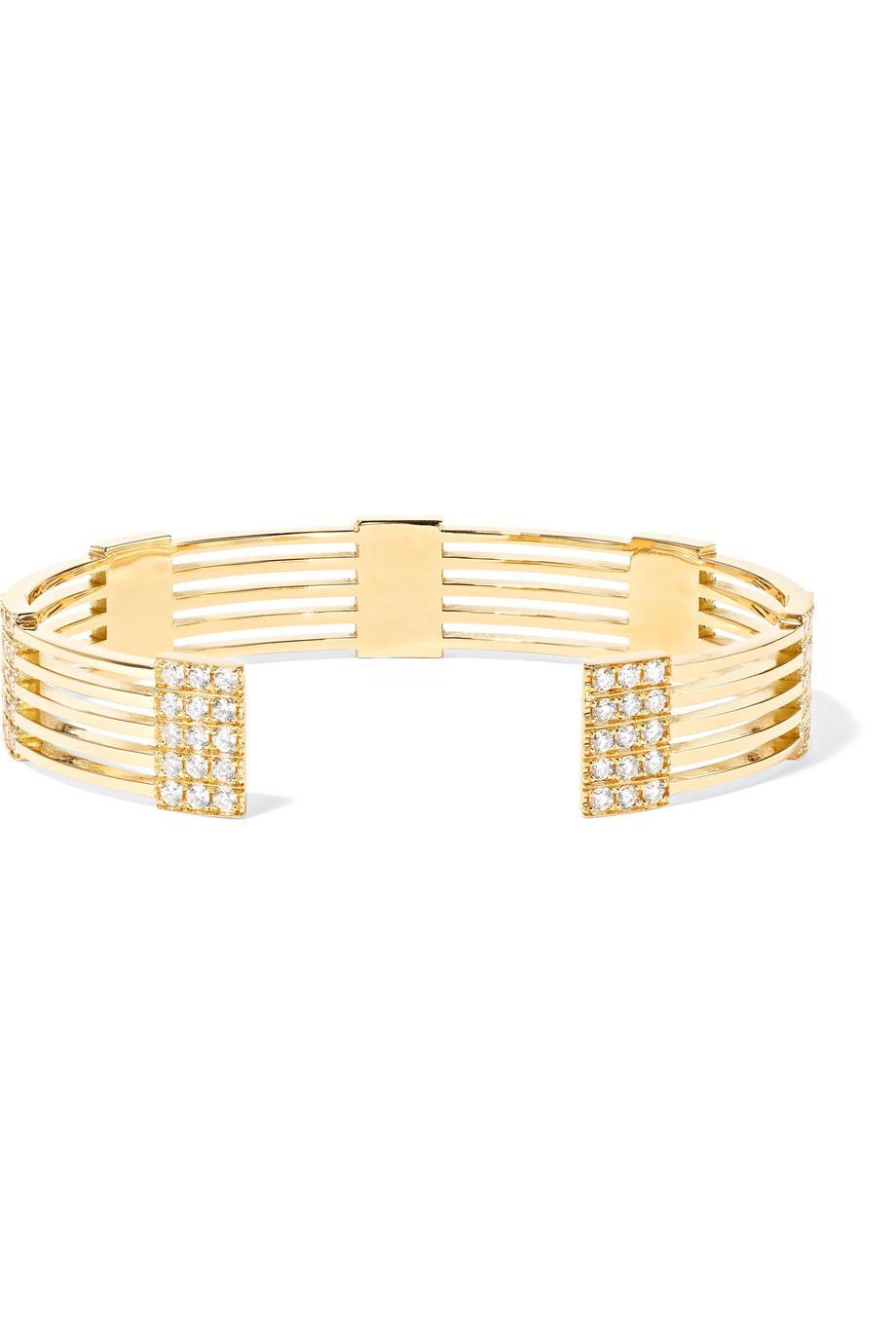 Melissa Kaye Izzy 18-karat Gold Diamond Cuff 9N04b1