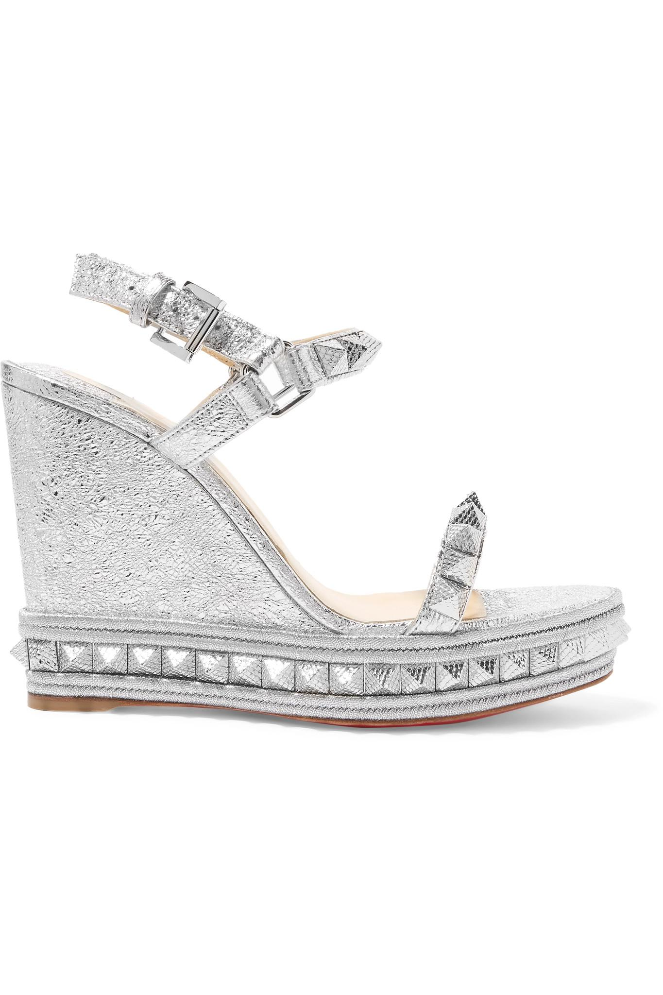 f6bc4031e15a Christian Louboutin. Women s Pyraclou 110 Spiked Metallic Textured-leather  Wedge Sandals
