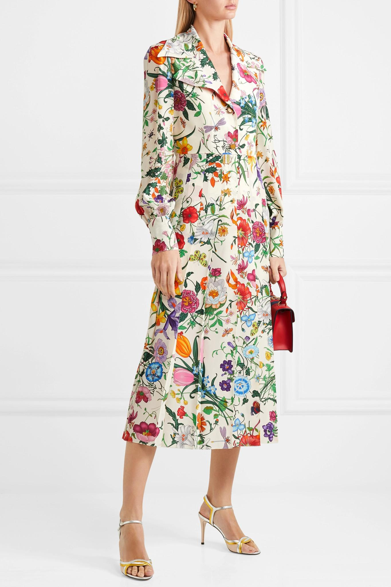 6e2c61906 Gucci - White Pleated Floral-print Silk Crepe De Chine Dress - Lyst. View  fullscreen