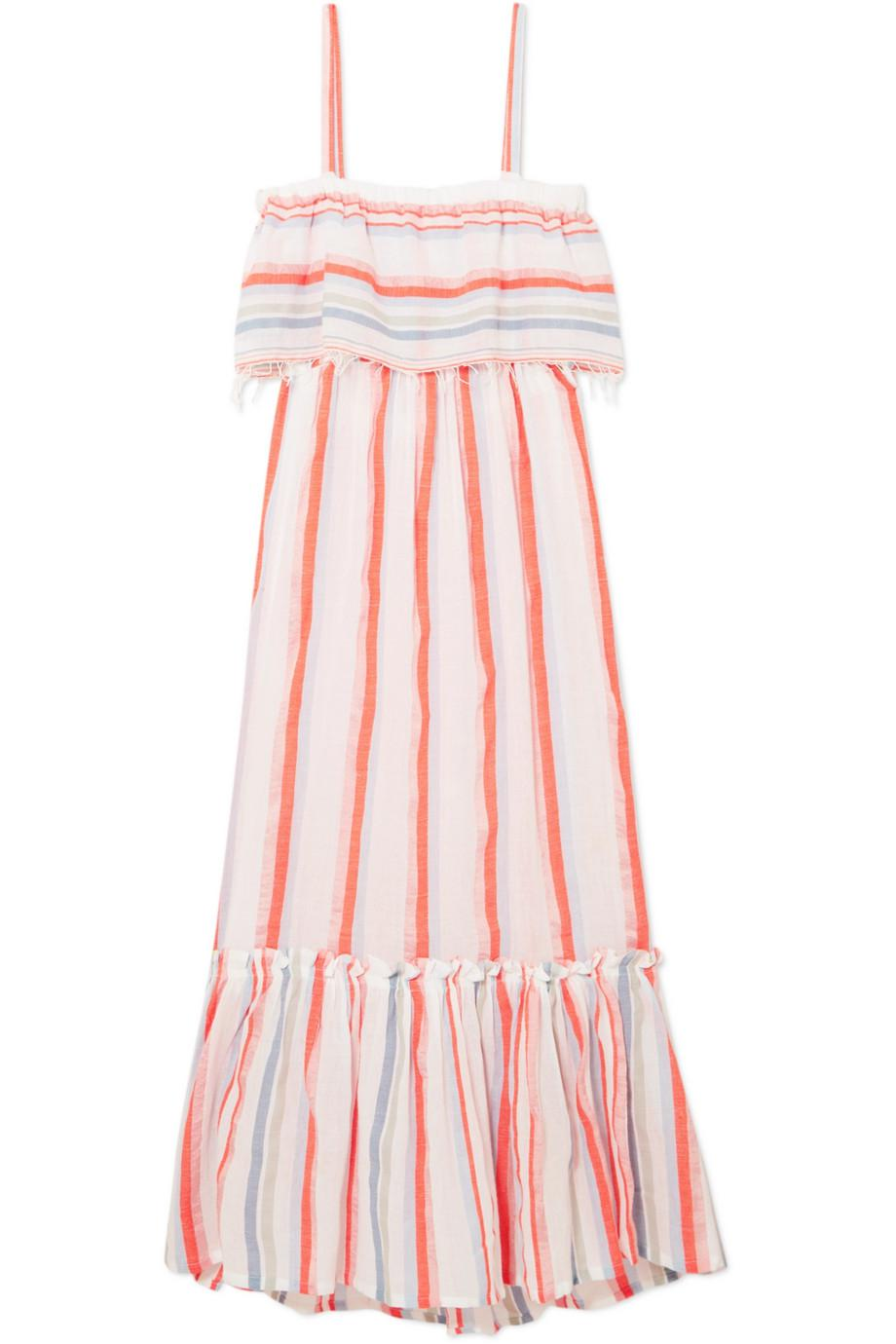 Asha Tiered Striped Cotton-blend Gauze Maxi Dress - Papaya Lemlem Low Price Sale Geniue Stockist Cheap Online Cheap New Visit Cheap Online q47fBsyVc