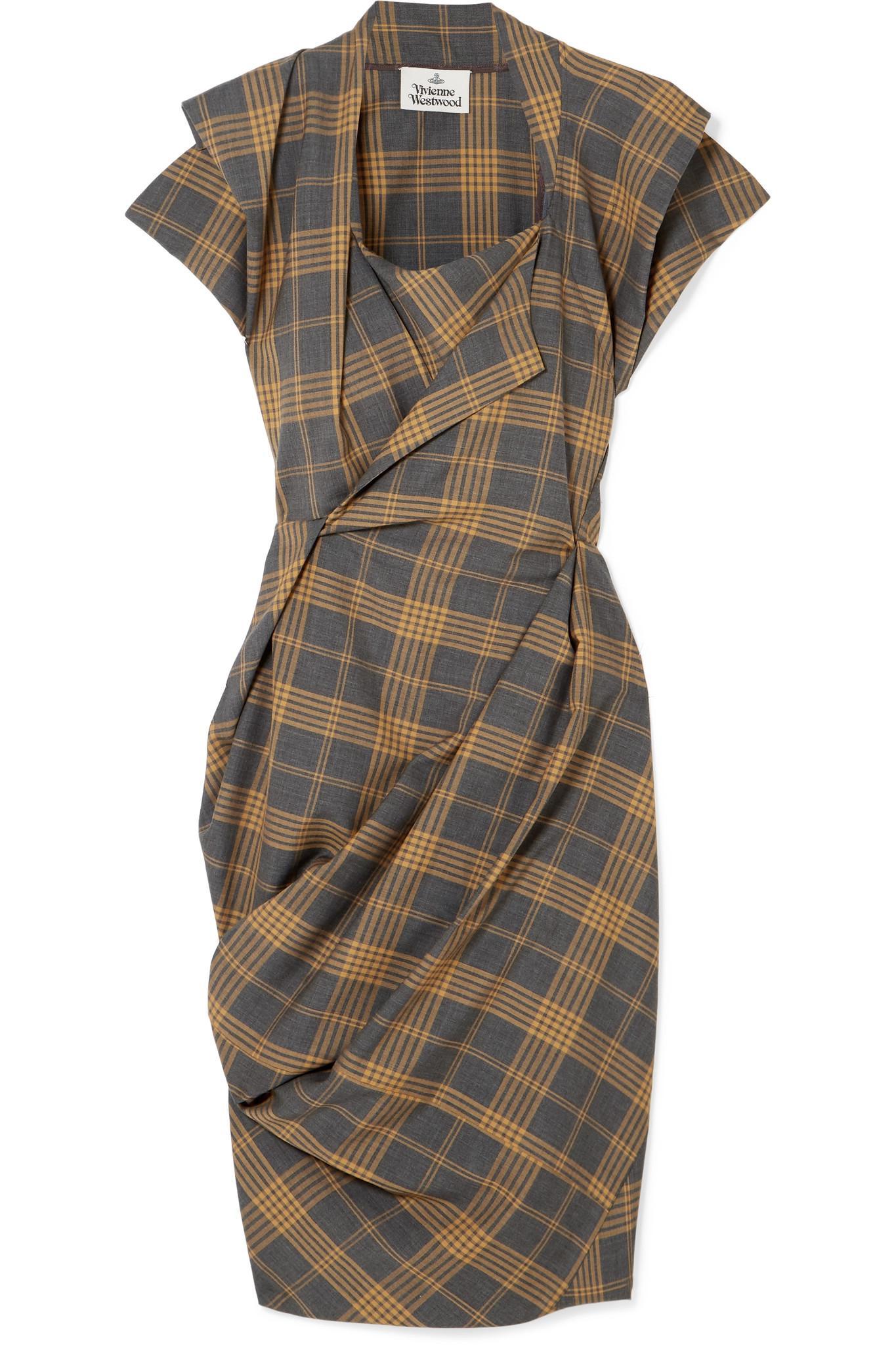 88713bc461 Vivienne Westwood Grand Fond Draped Tartan Wool Dress in Gray - Lyst
