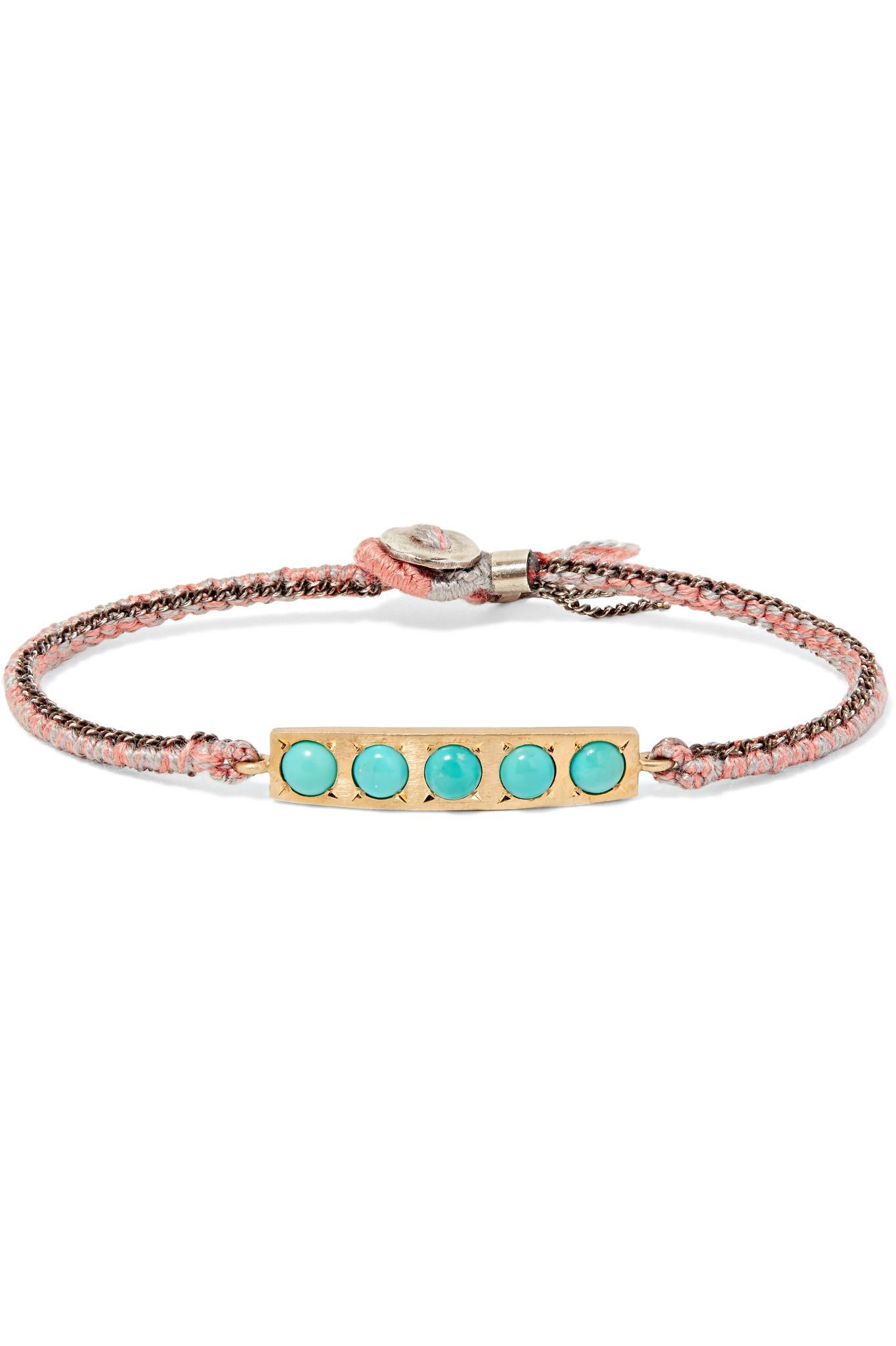 Brooke Gregson 14-karat Gold, Sterling Silver And Turquoise Bracelet - Pink