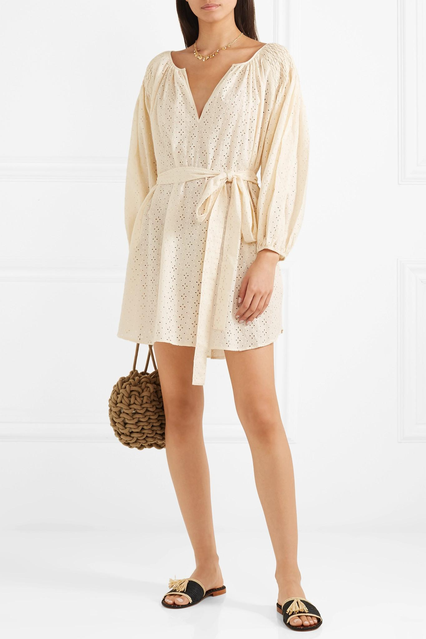 San Salvador Broderie Anglaise Cotton Mini Dress - Cream Marysia Swim Cheap Sale Professional New Fashion Style Of Cheap Enjoy Buy Cheap Manchester sQUwF