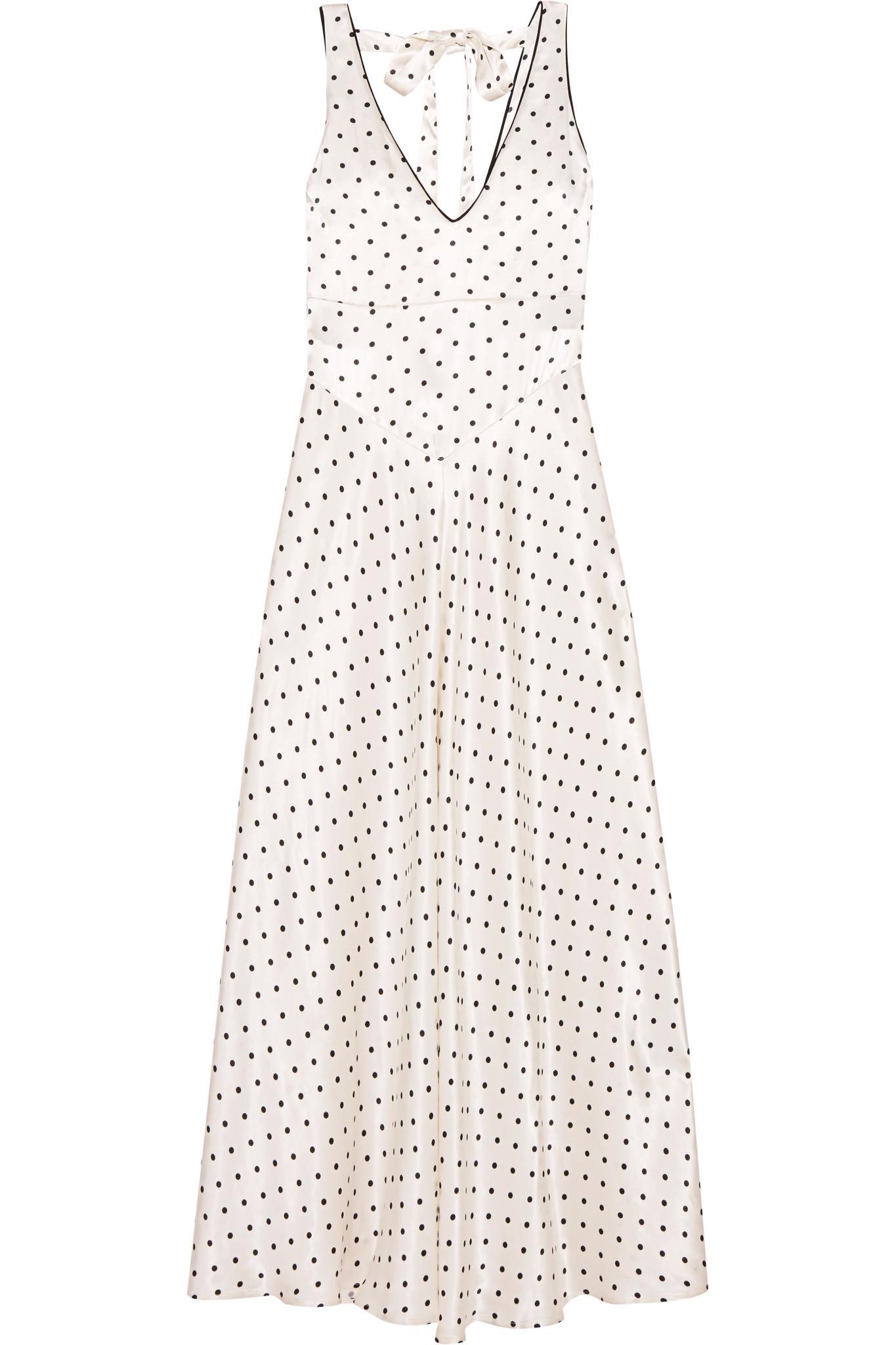 6abaa876b2 Ganni Leclair Open-back Polka-dot Satin Maxi Dress in White - Lyst