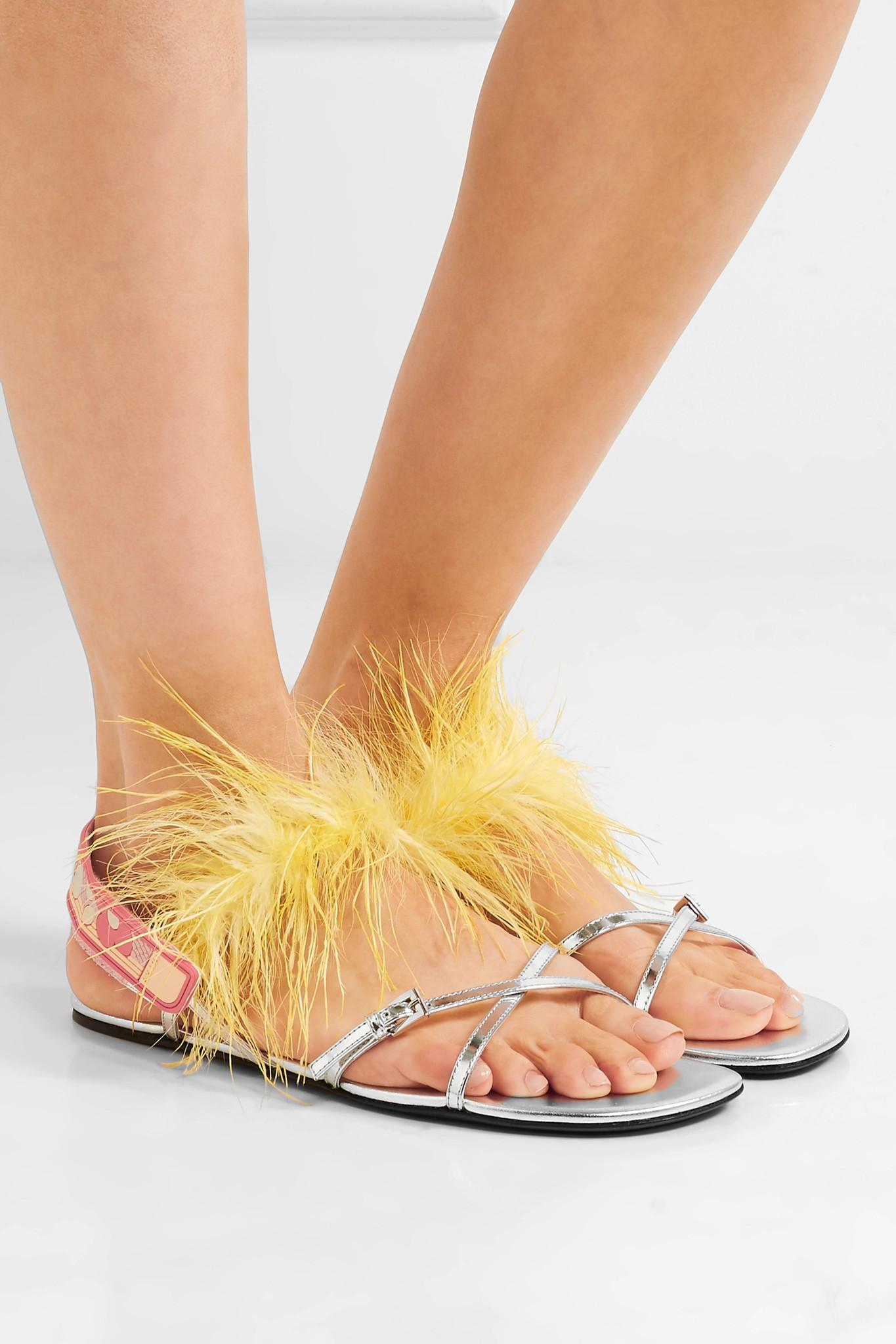 0b7b5b2b654 Prada - Feather-embellished Metallic Leather Sandal - Lyst. View fullscreen