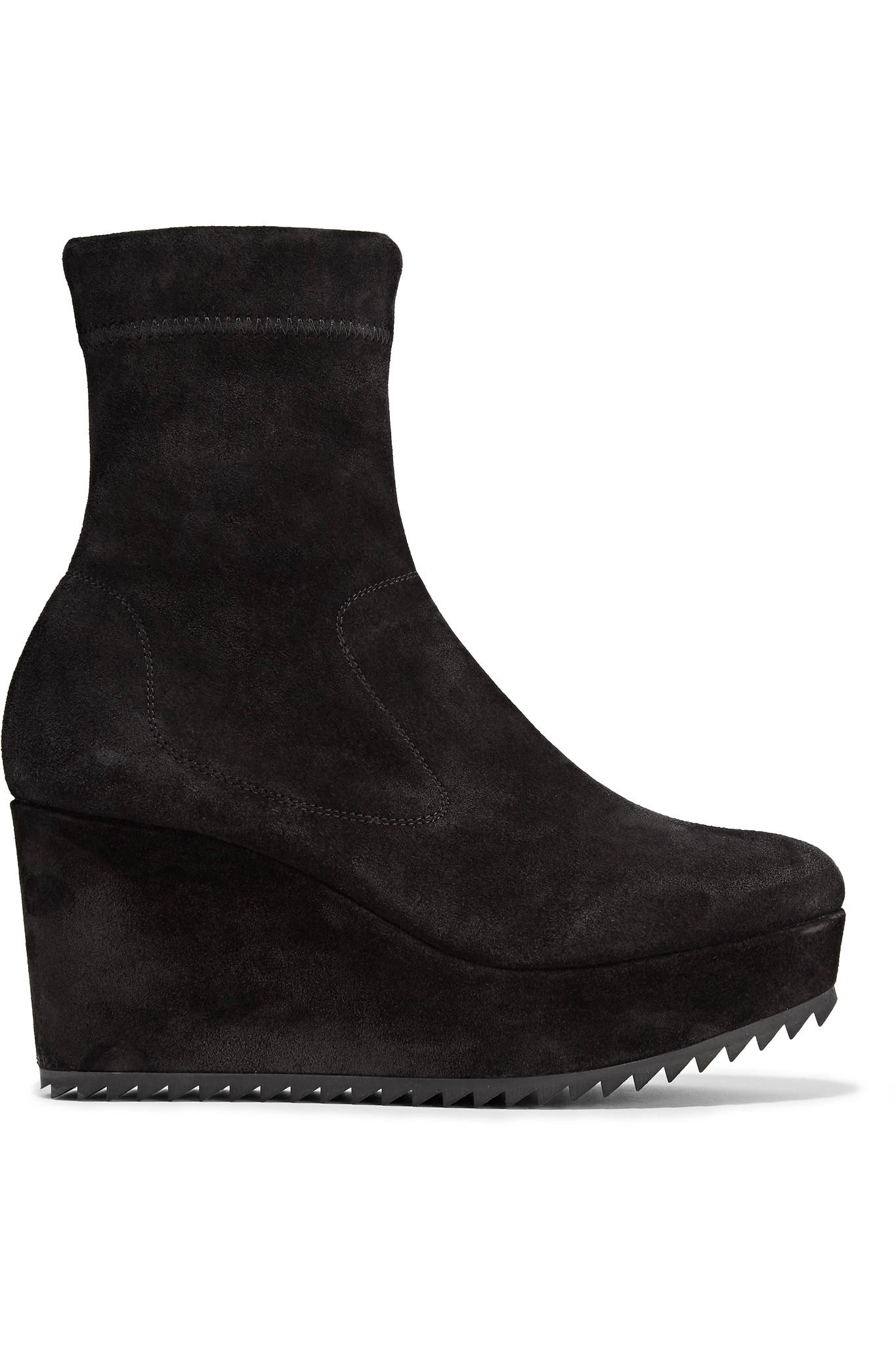 pedro garcia urika stretch suede wedge ankle boots in