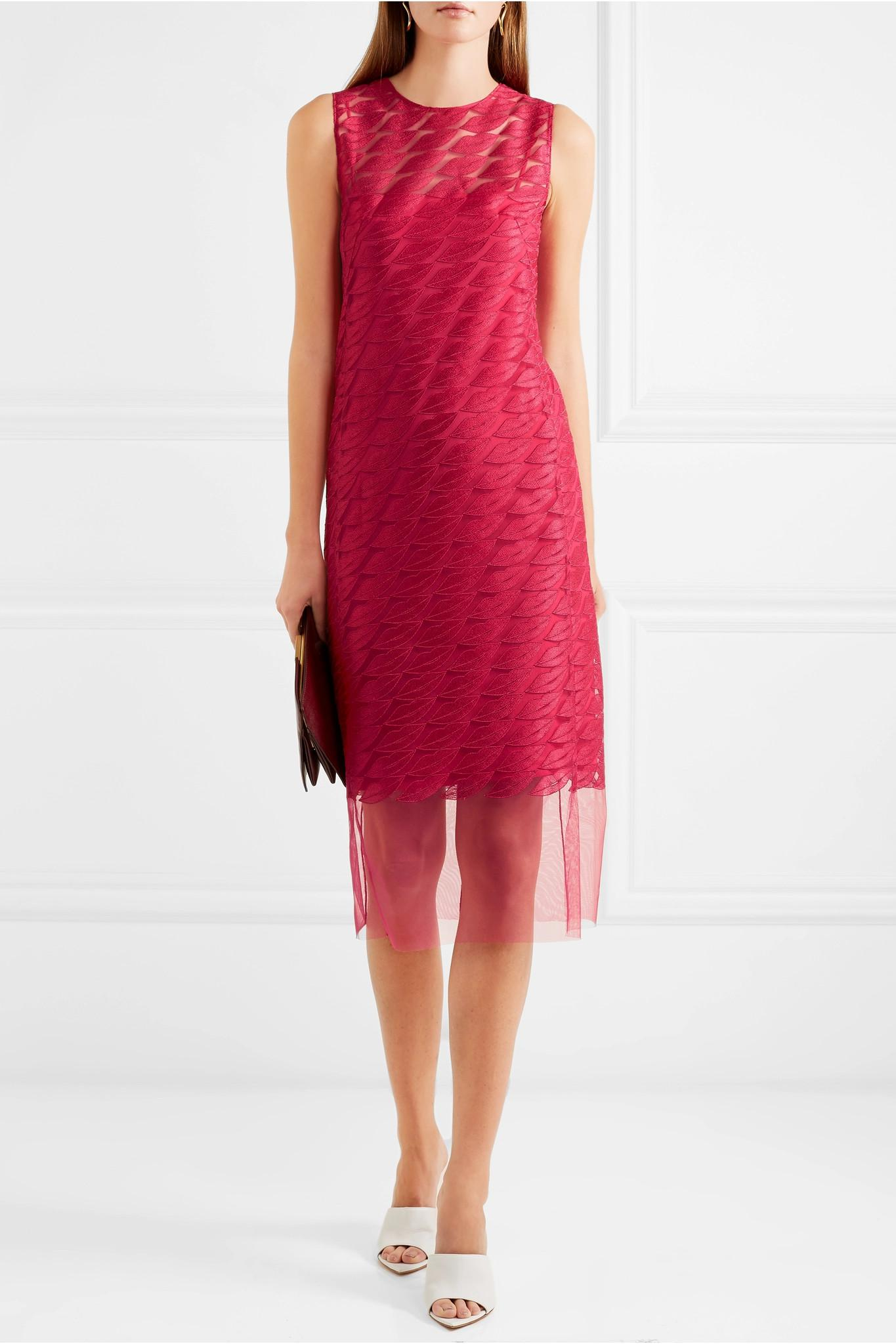 0db2aba6a7 Akris Embroidered Tulle And Silk Dress in Pink - Lyst