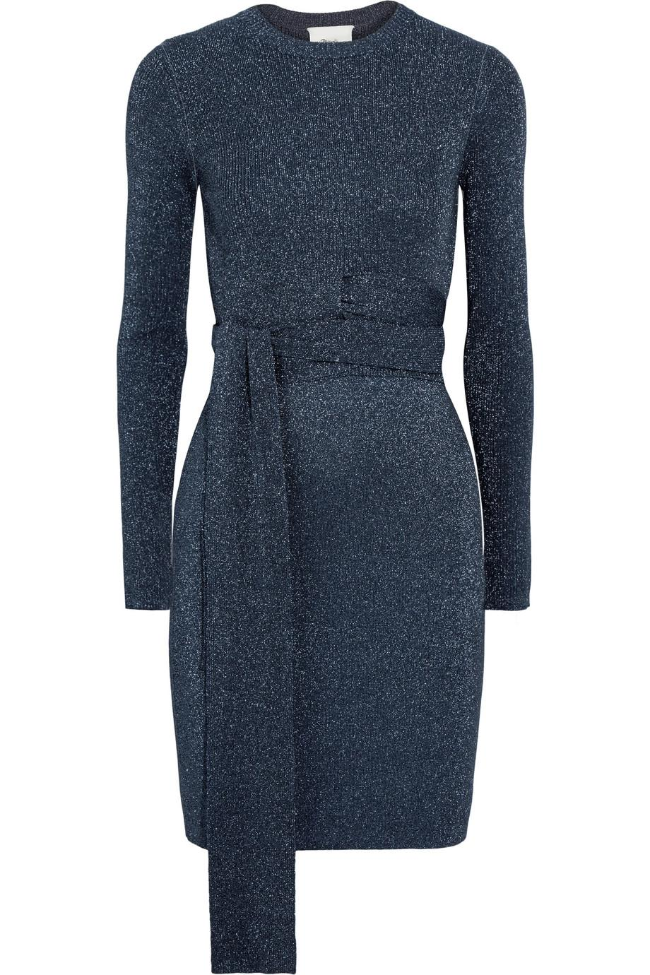 Twisted Metallic Ribbed-knit Dress - Navy 3.1 Phillip Lim