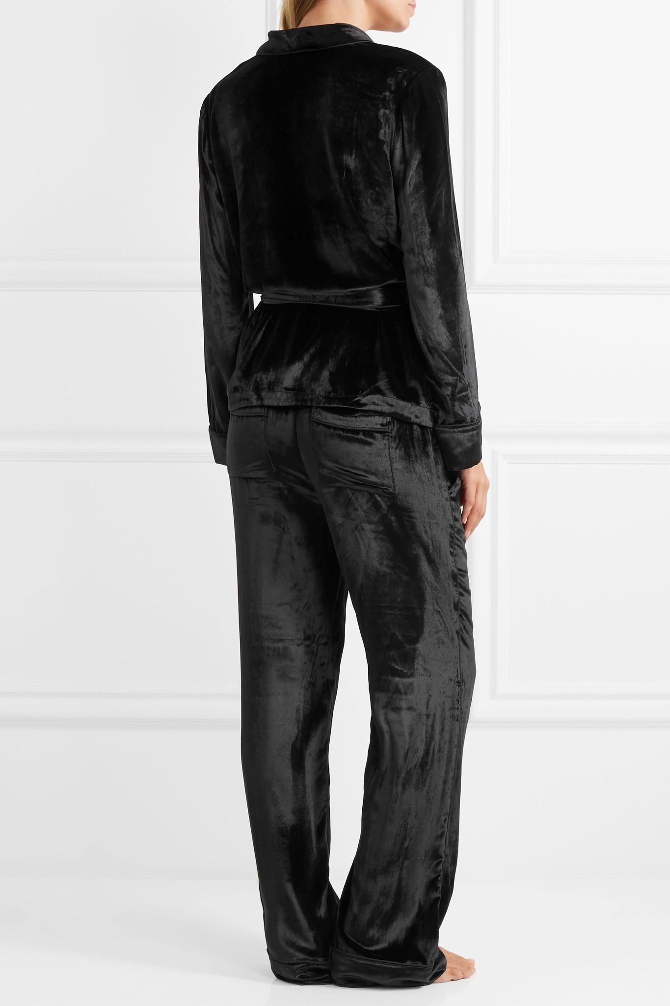 b3222130cf Lyst - Equipment Odette Velvet Pajama Set in Black