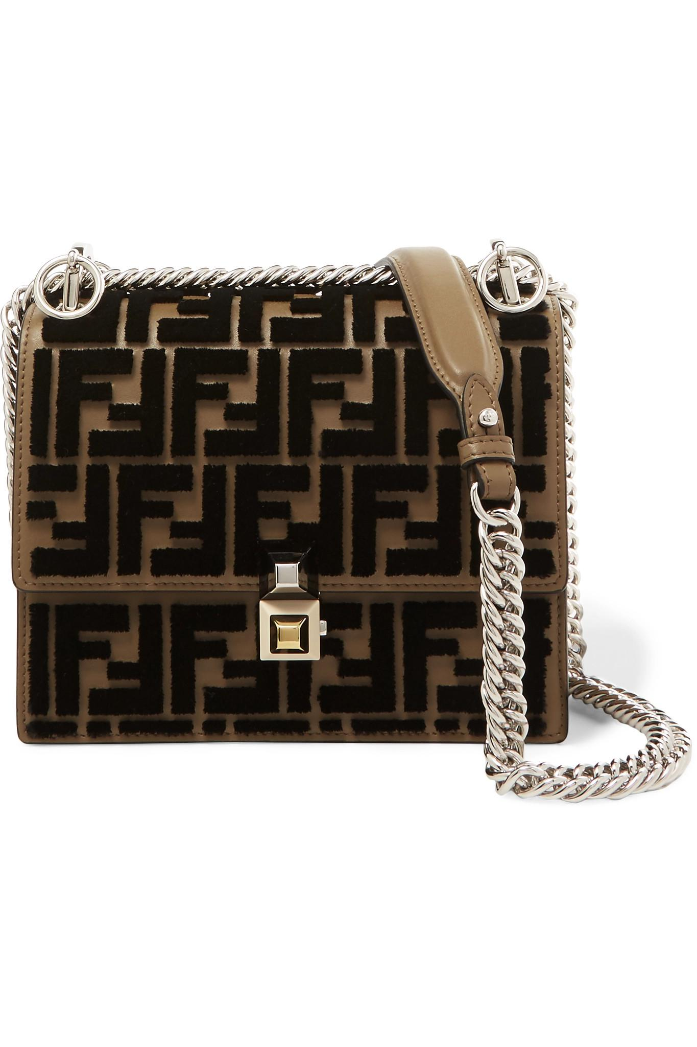 Lyst - Fendi Kan I Small Flocked Leather Shoulder Bag in Brown e53f4f7e66982