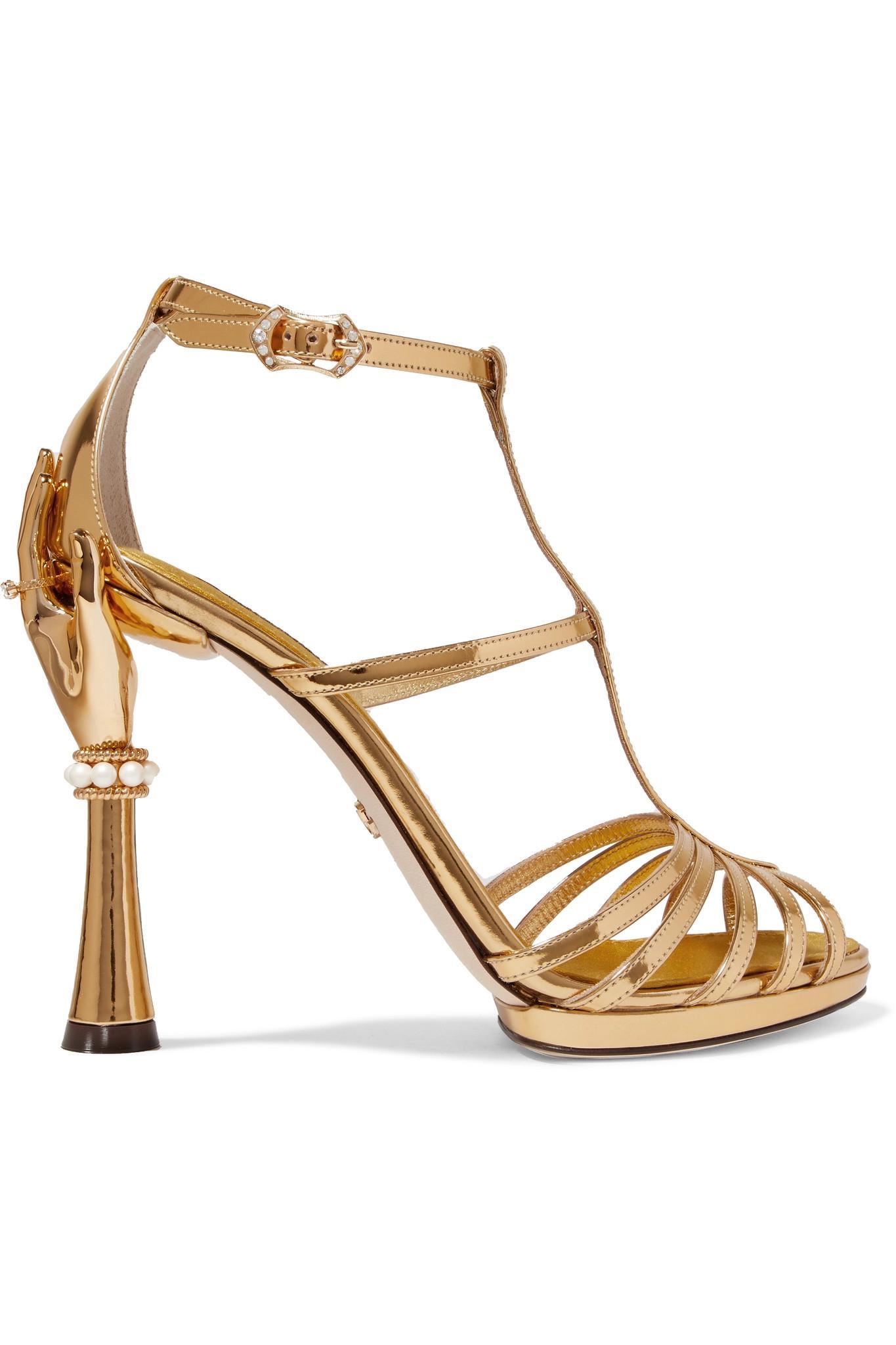 Embellished Mirrored-leather Sandals - Gold Dolce & Gabbana ybGjOGl5a
