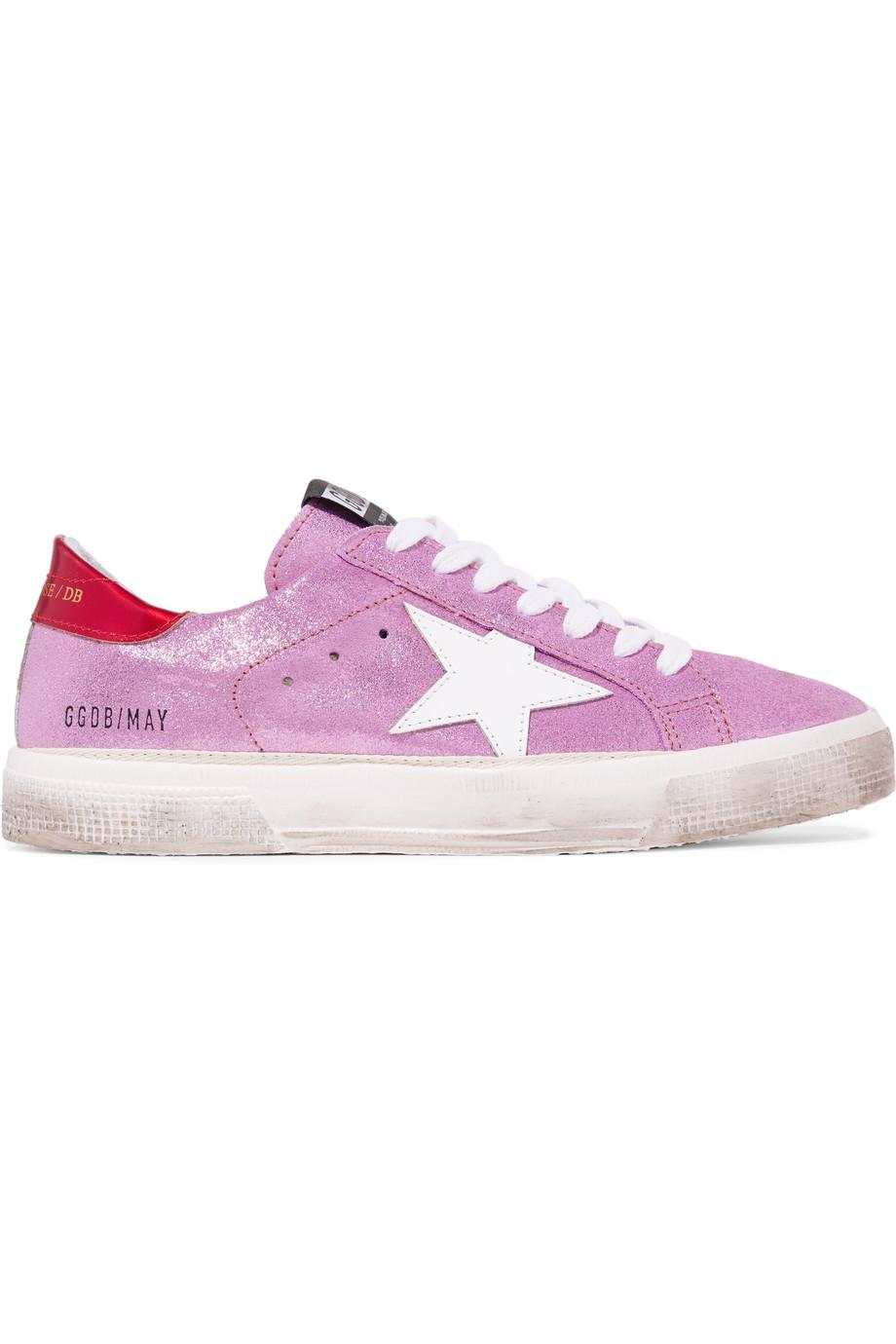 May Distressed Metallic Suede And Leather Sneakers - Lilac Golden Goose