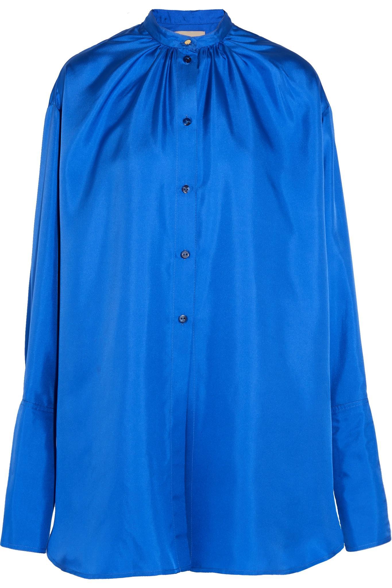 Lyst Roksanda Kiyoko Oversized Silk Satin Shirt In Blue
