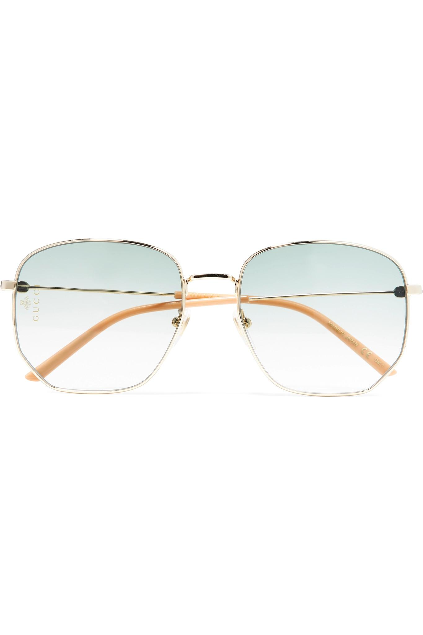 67e7e5c42f Lyst - Gucci Hexagon-frame Gold-tone And Acetate Sunglasses in Yellow