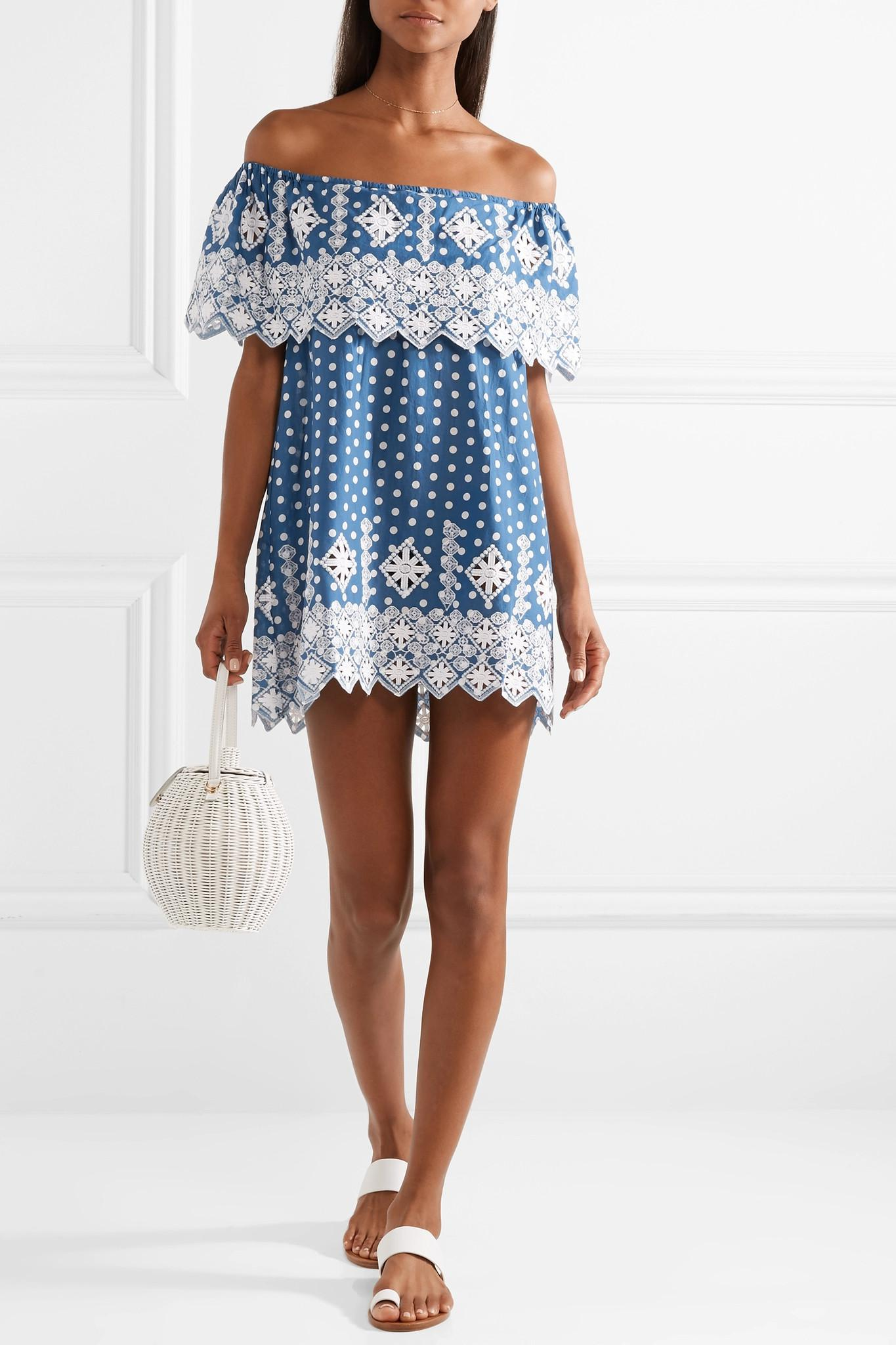 be7c27d3c miguelina-cobalt-blue-Agnes-Off-the-shoulder-Crocheted-Polka-dot-Cotton-voile-Mini- Dress.jpeg