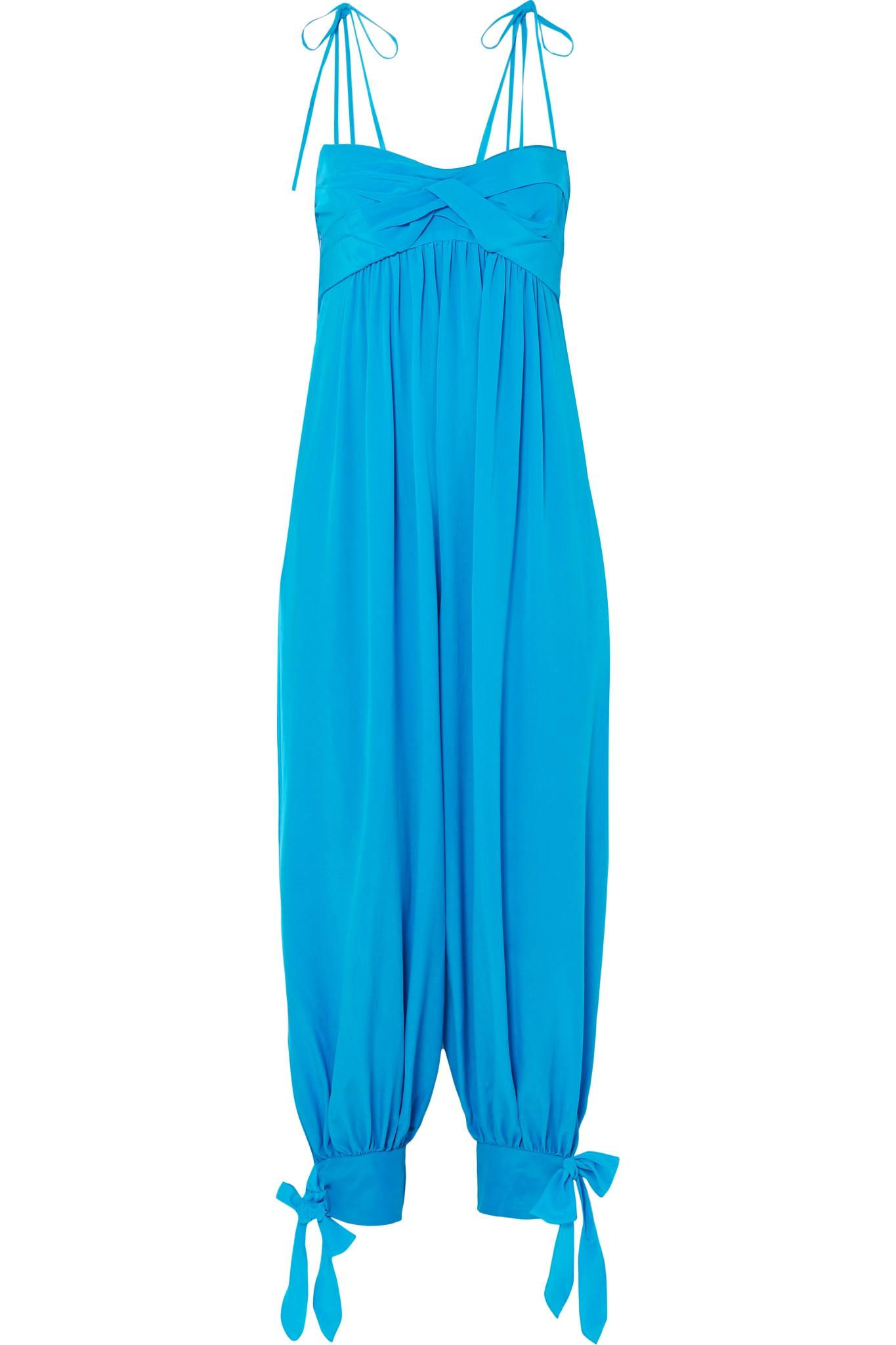 f68d2cc4395 Three Graces London. Women s Blue Reed Tie-embellished Washed-silk Jumpsuit