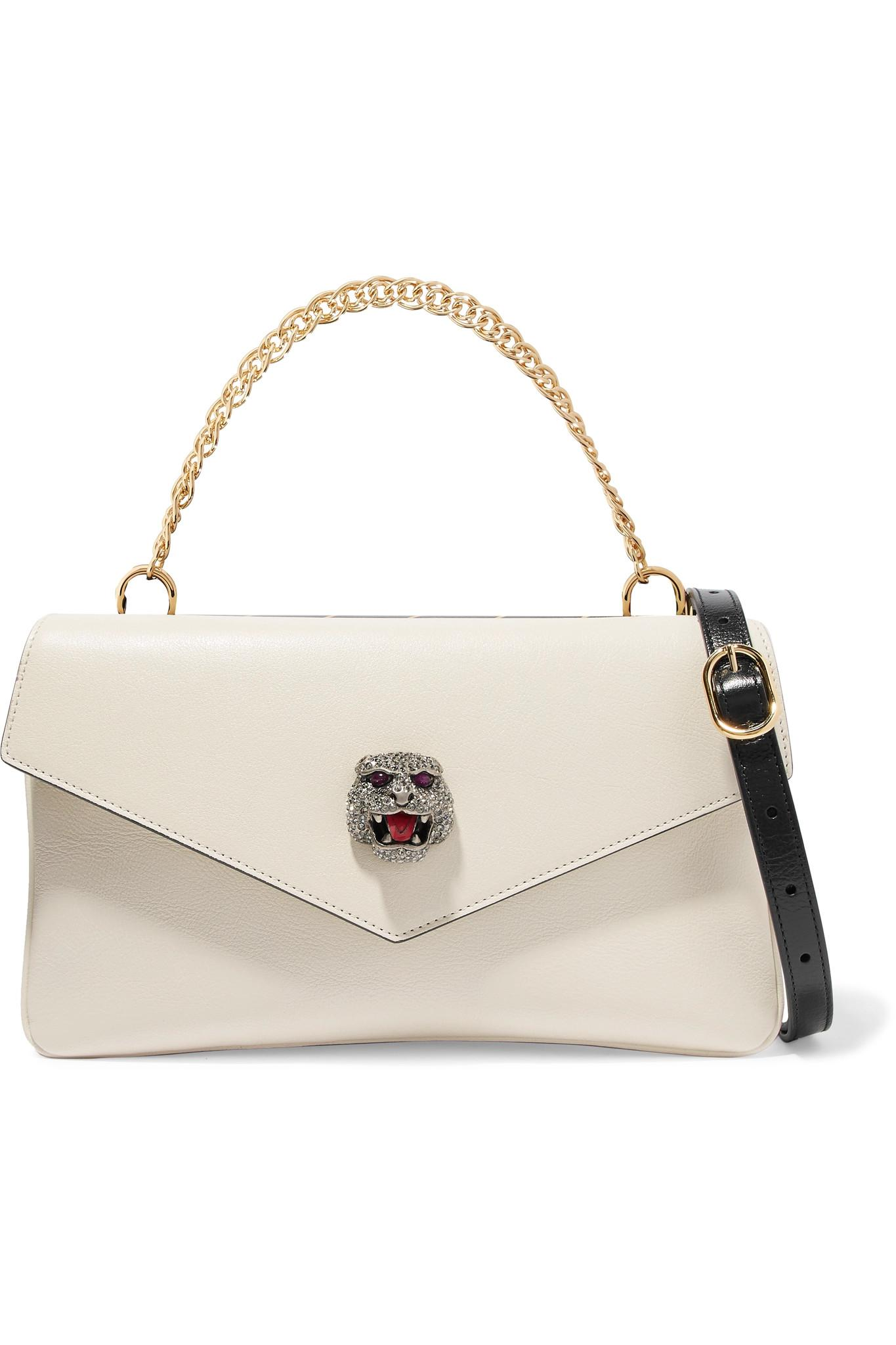 2df816b94aa Lyst - Gucci Thiara Embellished Printed Leather Shoulder Bag in White