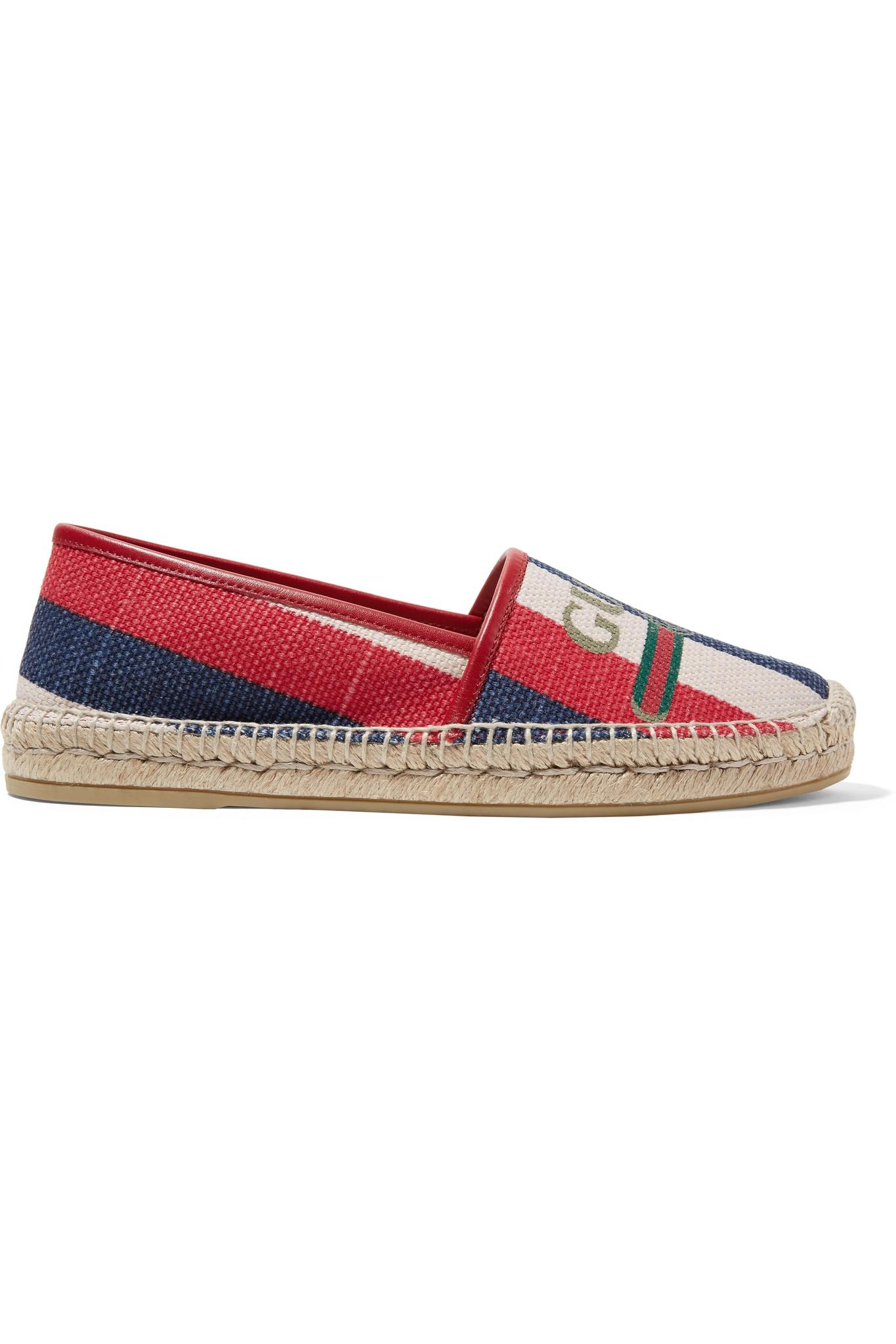 ae7501c53026 Gucci Pilar Leather-trimmed Striped Logo-print Canvas Espadrilles in ...
