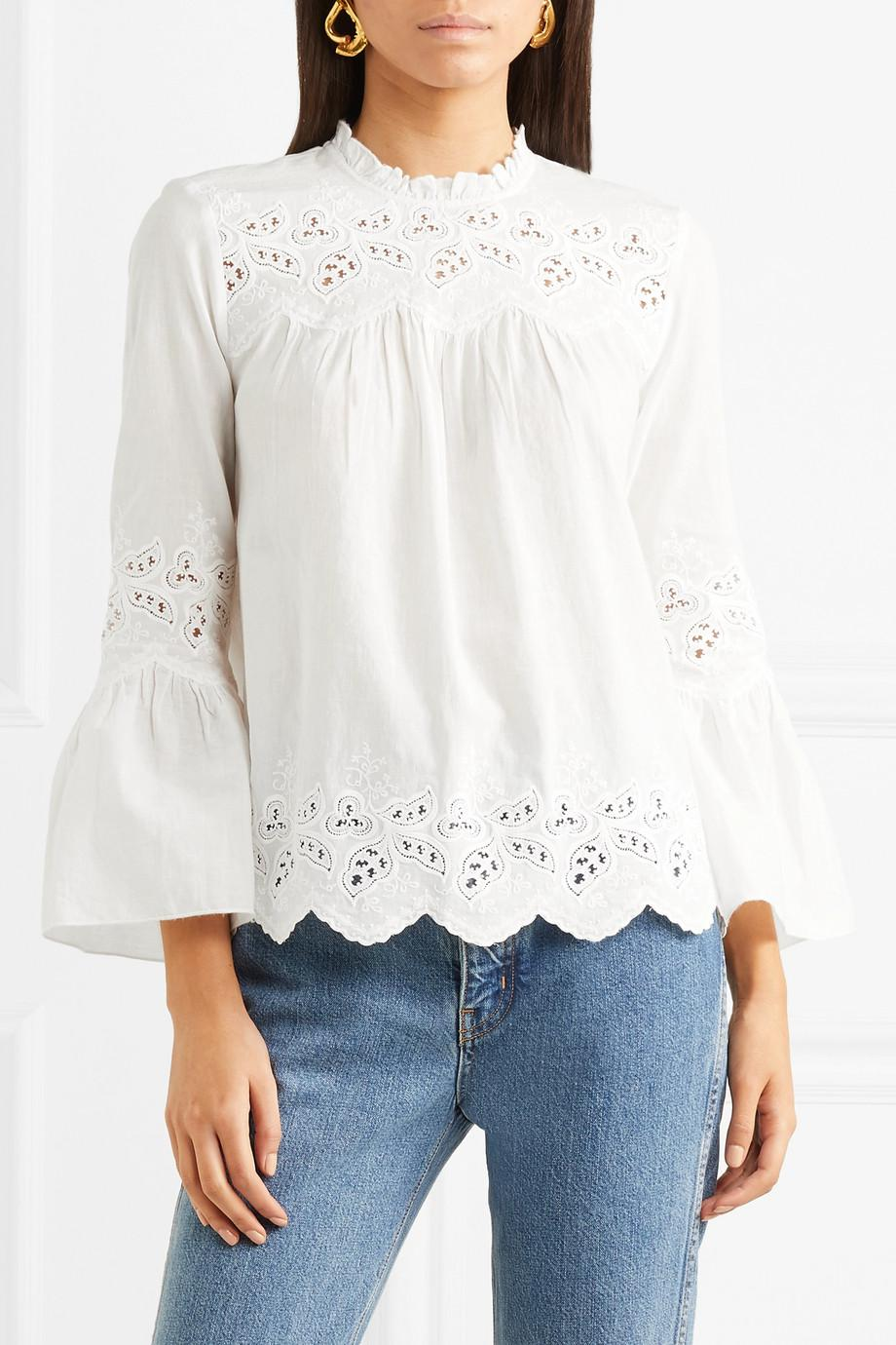 166721b6e8eaa9 Ulla Johnson Woman Broderie Anglaise Cotton And Linen-blend Top ...