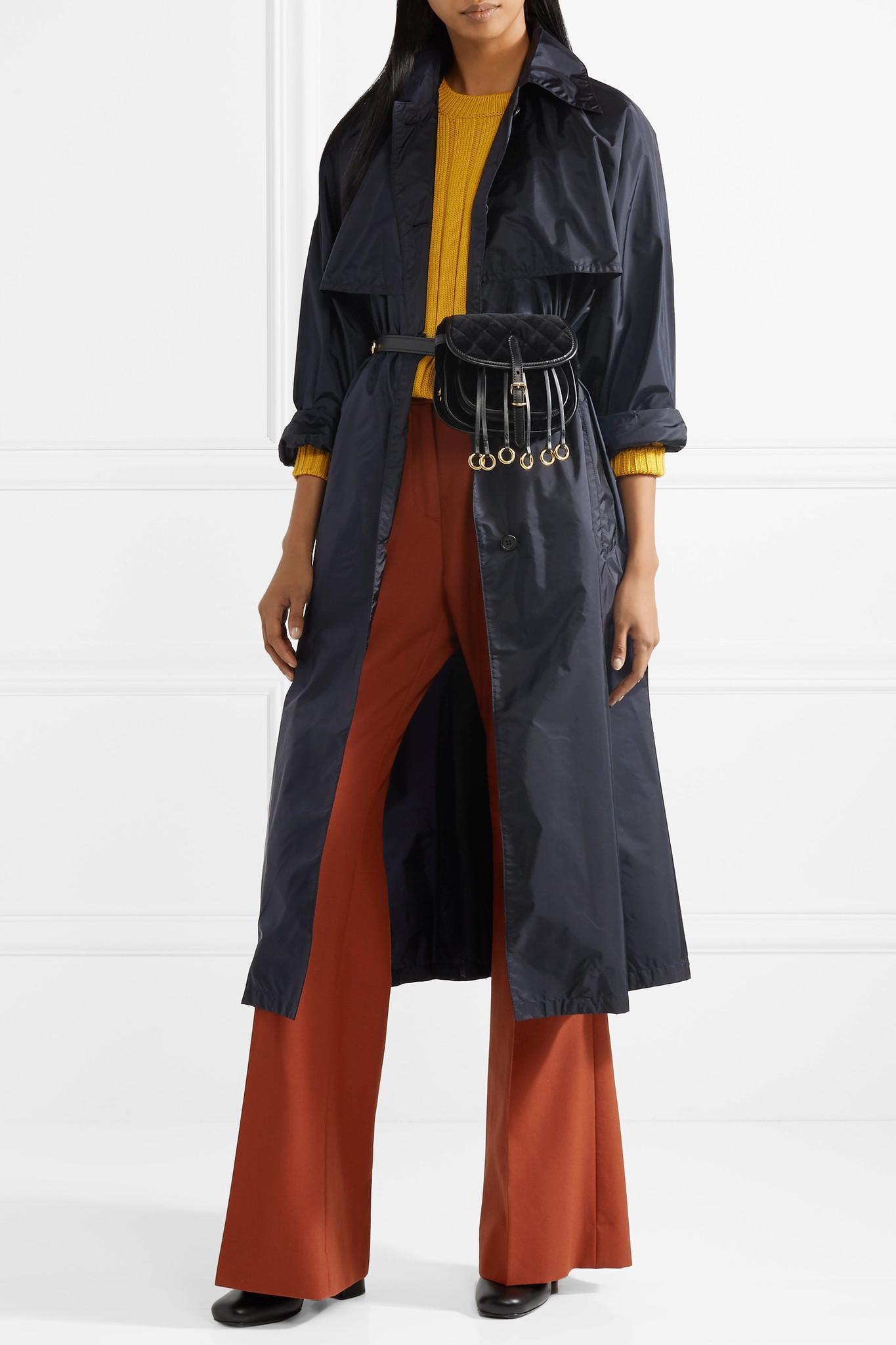 d5a85c3a47d2 Lyst - Prada Leather-trimmed Quilted Velvet Belt Bag in Black