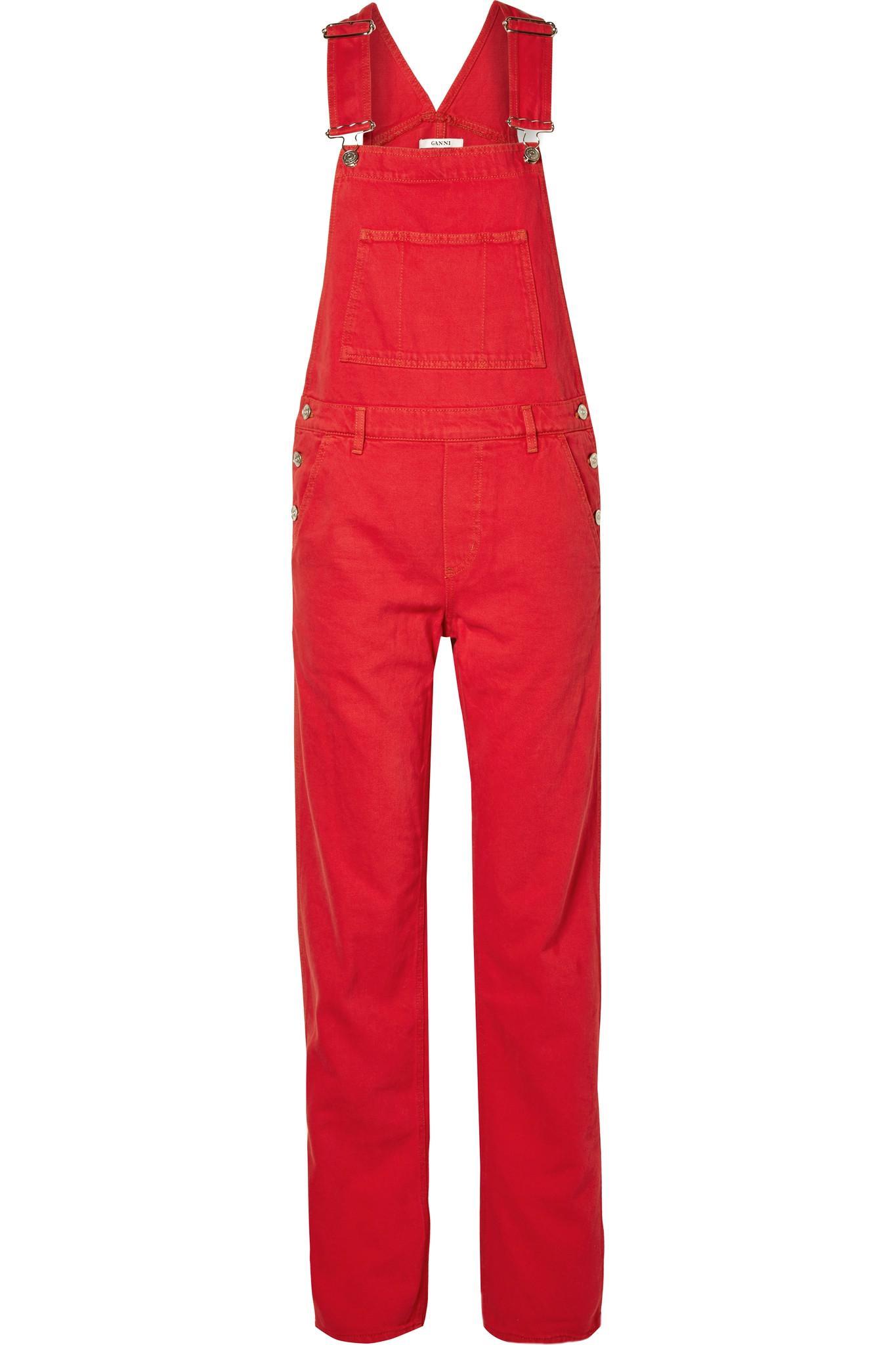 0e7a6bd33f0 Lyst - Ganni Denim Overalls in Red