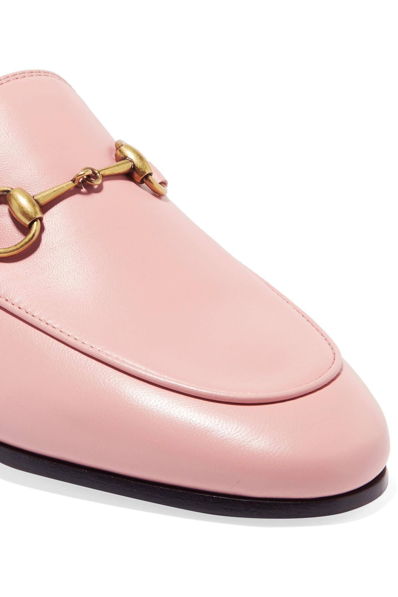 07d98b99bf6 Gucci - Pink Brixton Leather Loafers - Lyst. View fullscreen