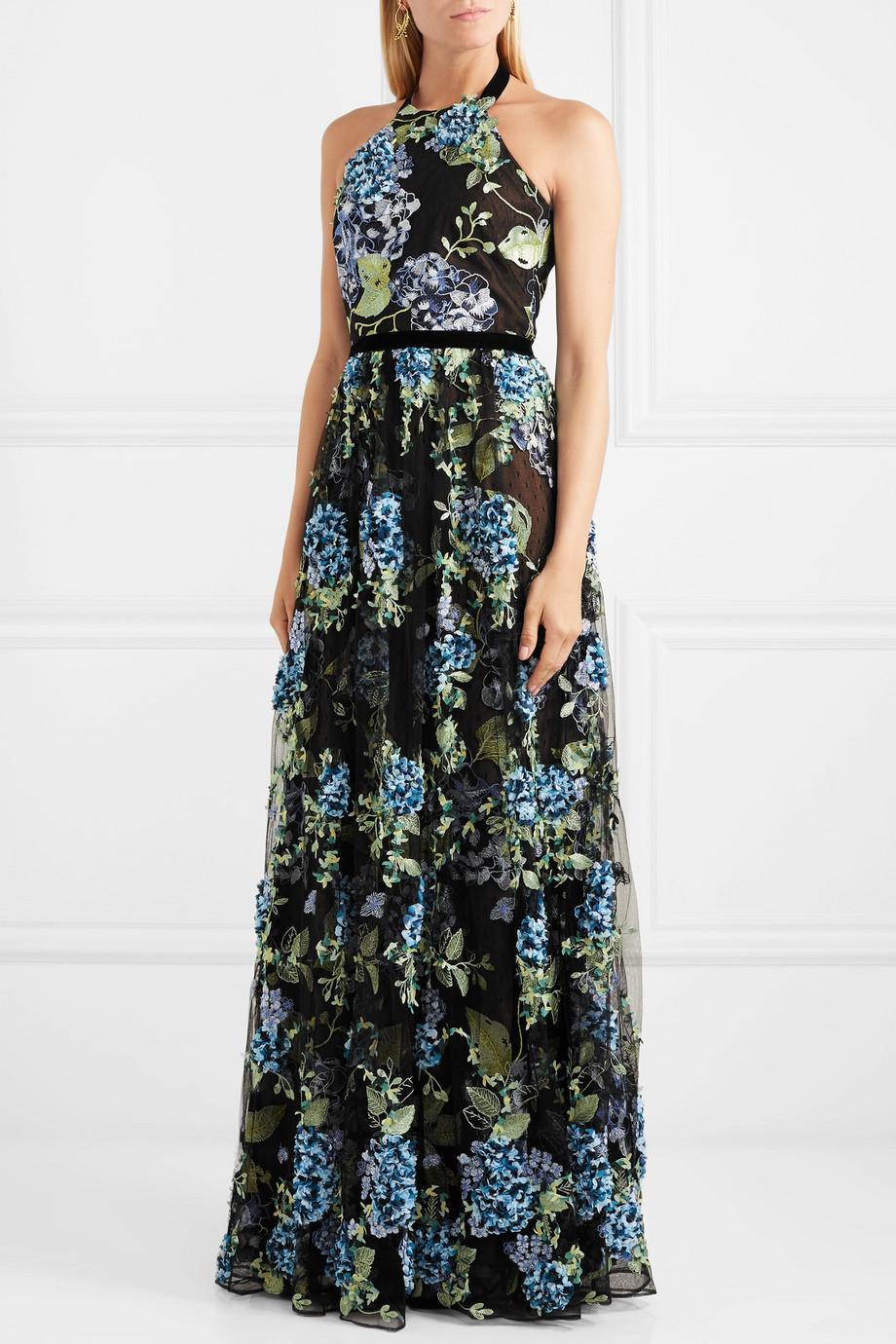 Halterneck Embroidered Point Desprit Gown - Black Marchesa XGT1I0UB