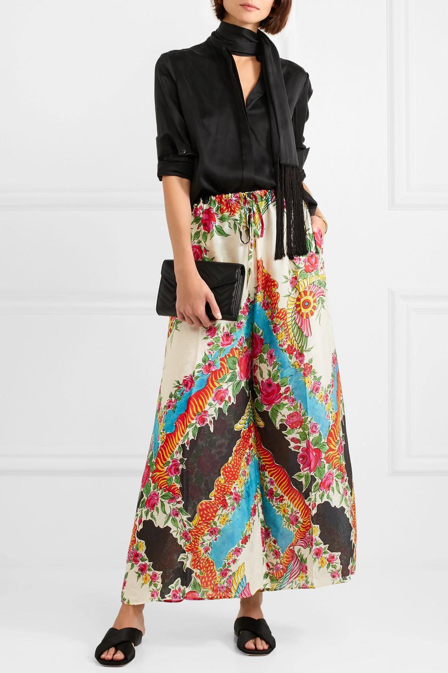 Floral Imprimé Satin Jacquard Pantalon Large Jambe - Gucci Noir cwgPTxX
