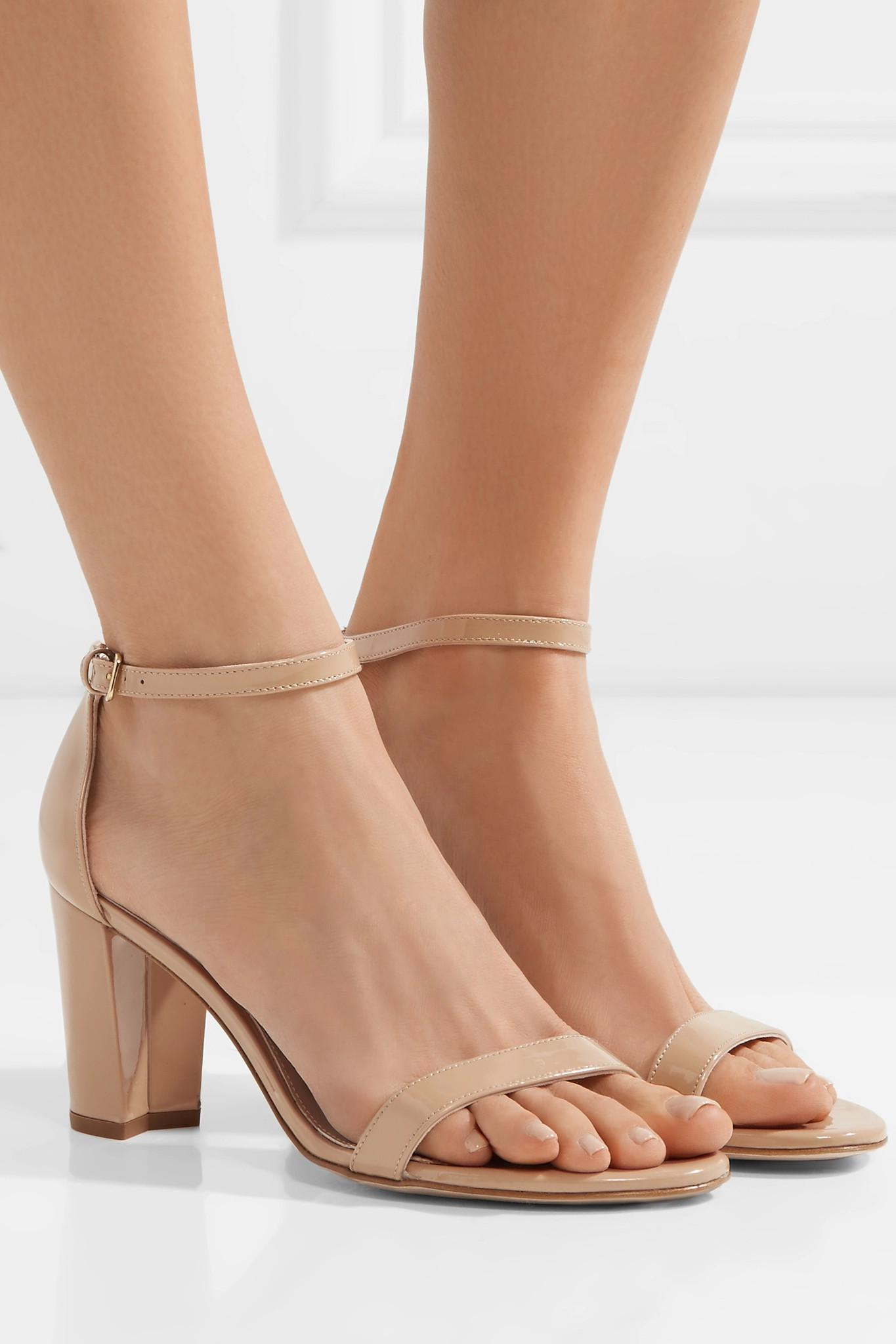 69e1d56d230e Stuart Weitzman - Natural Nearlynude Patent-leather Sandals - Lyst. View  fullscreen