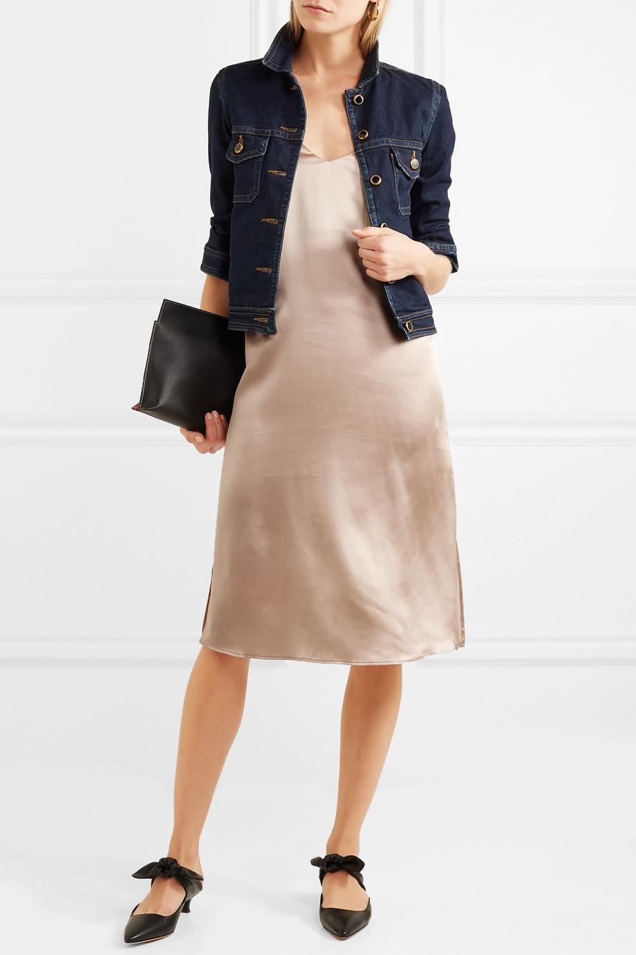 8a45a9b5dd3e Anine Bing Gemma Silk-satin Midi Dress in Natural - Lyst