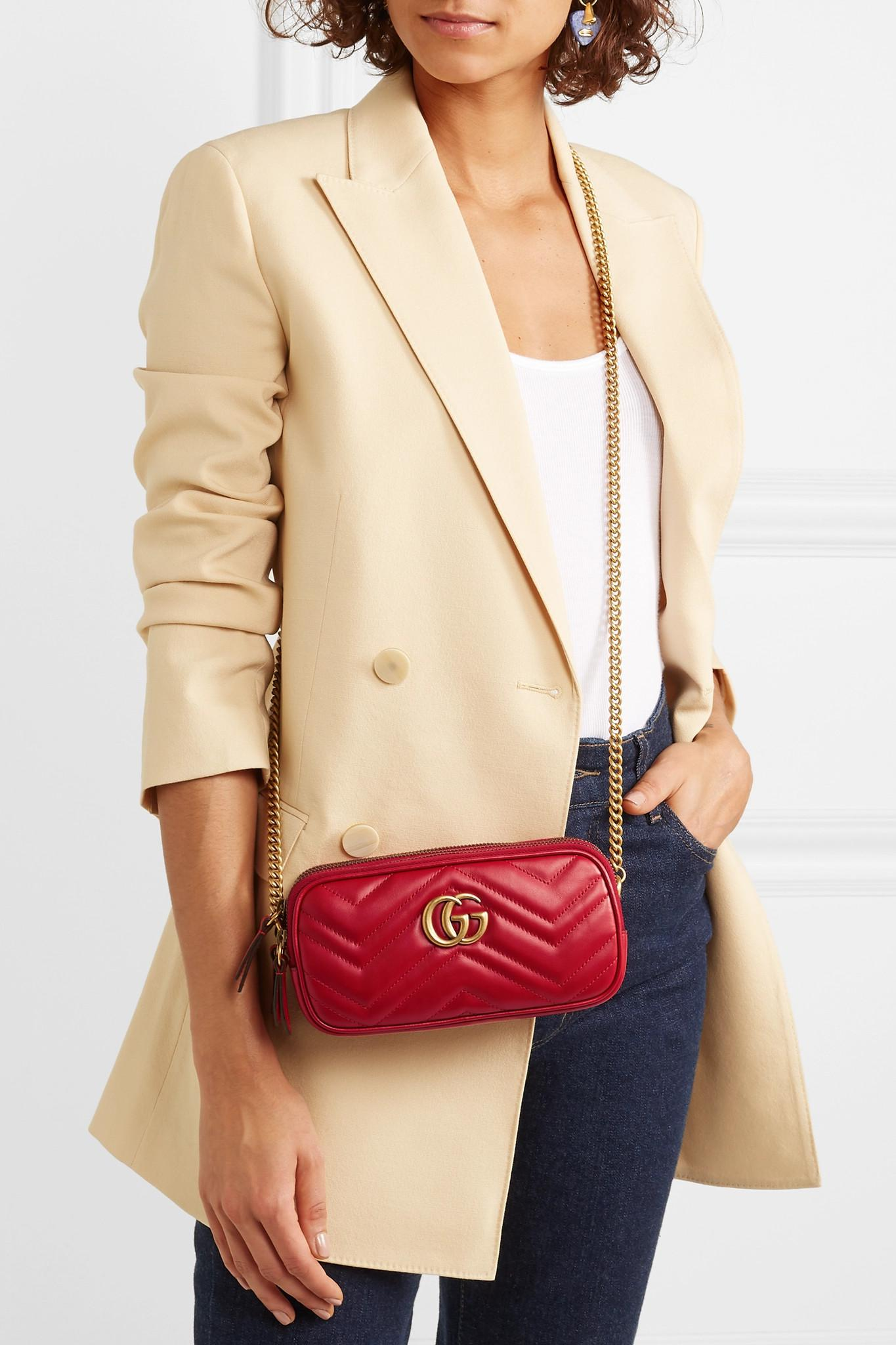 808cf490191 Gucci - Red Gg Marmont Mini Quilted Leather Shoulder Bag - Lyst. View  fullscreen
